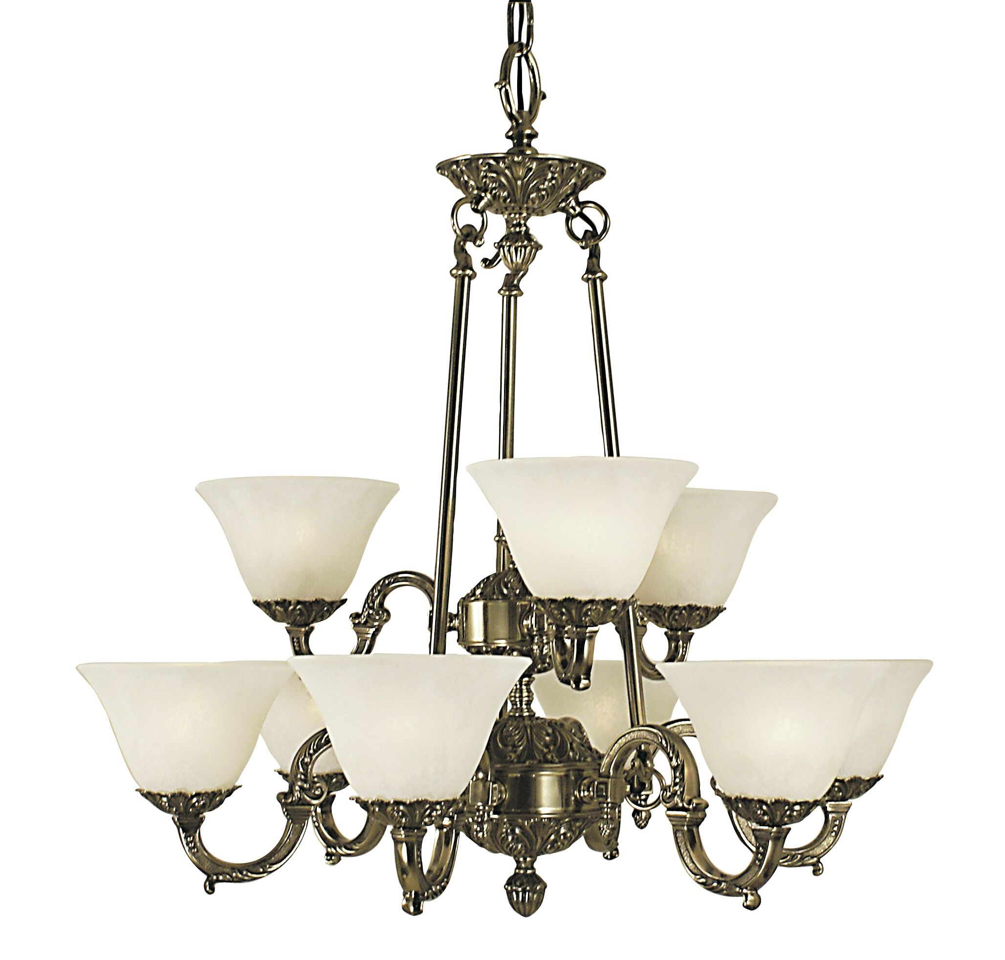 Napoleonic 9-Light Shaded Chandelier Shade Color: Amber, Color: Mahogany Bronze