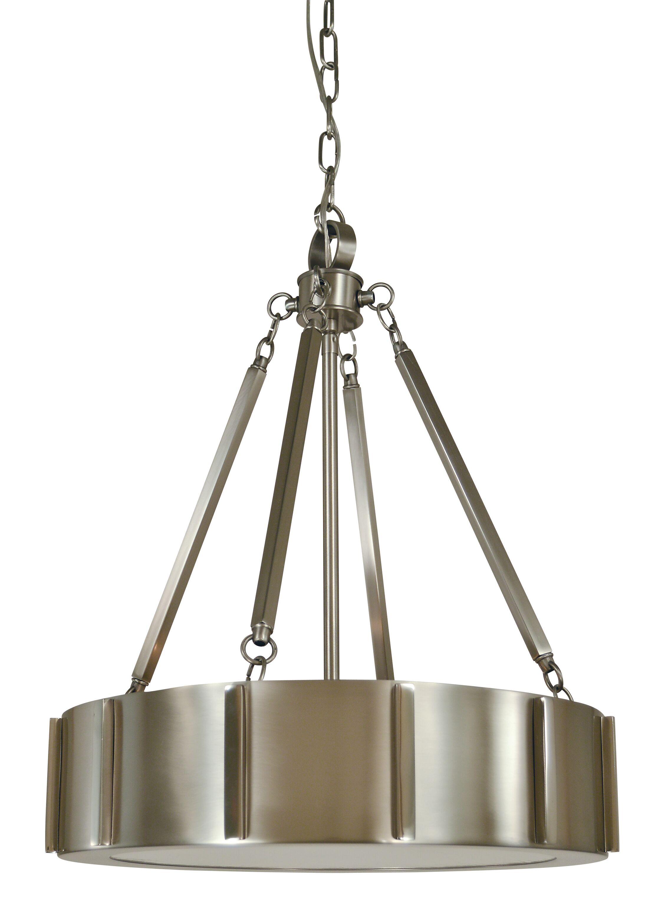 Pantheon 4-Light Pendant Color: Matte Black / Polished Nickel, Size: 25