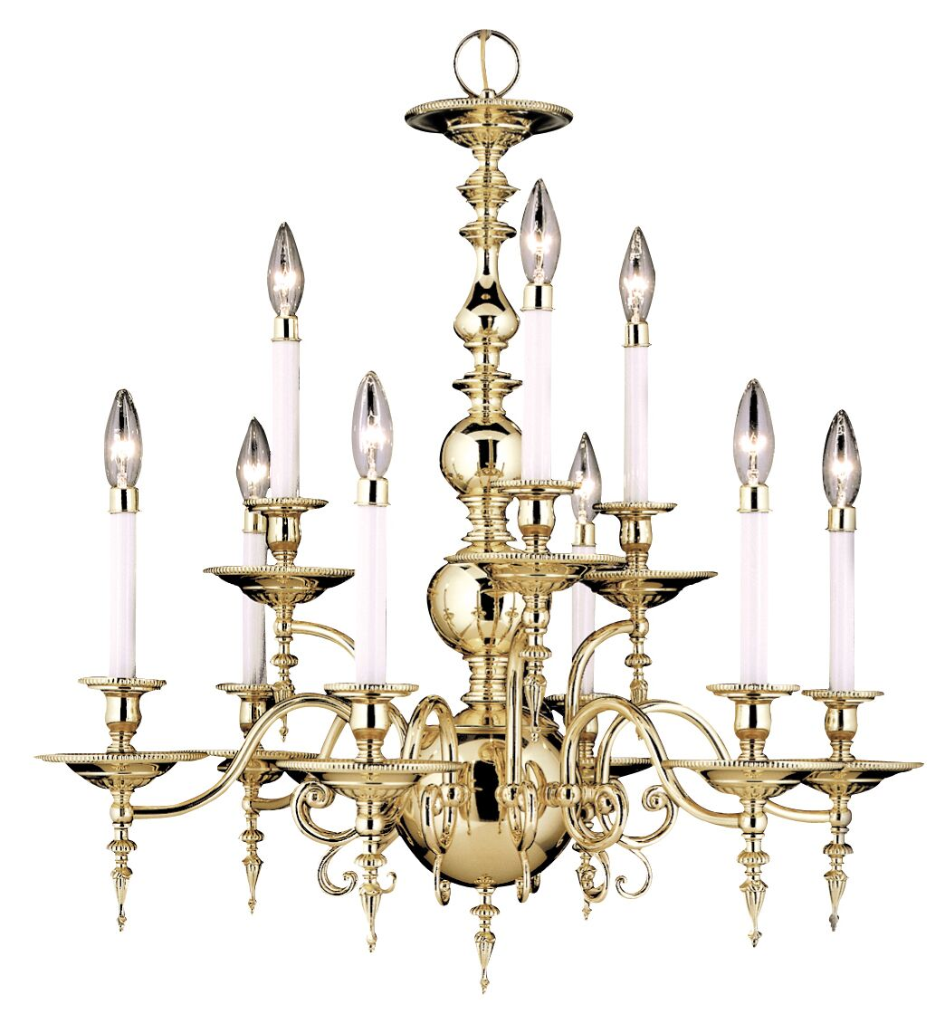 Kensington 9-Light Chandelier Color: Polished Brass