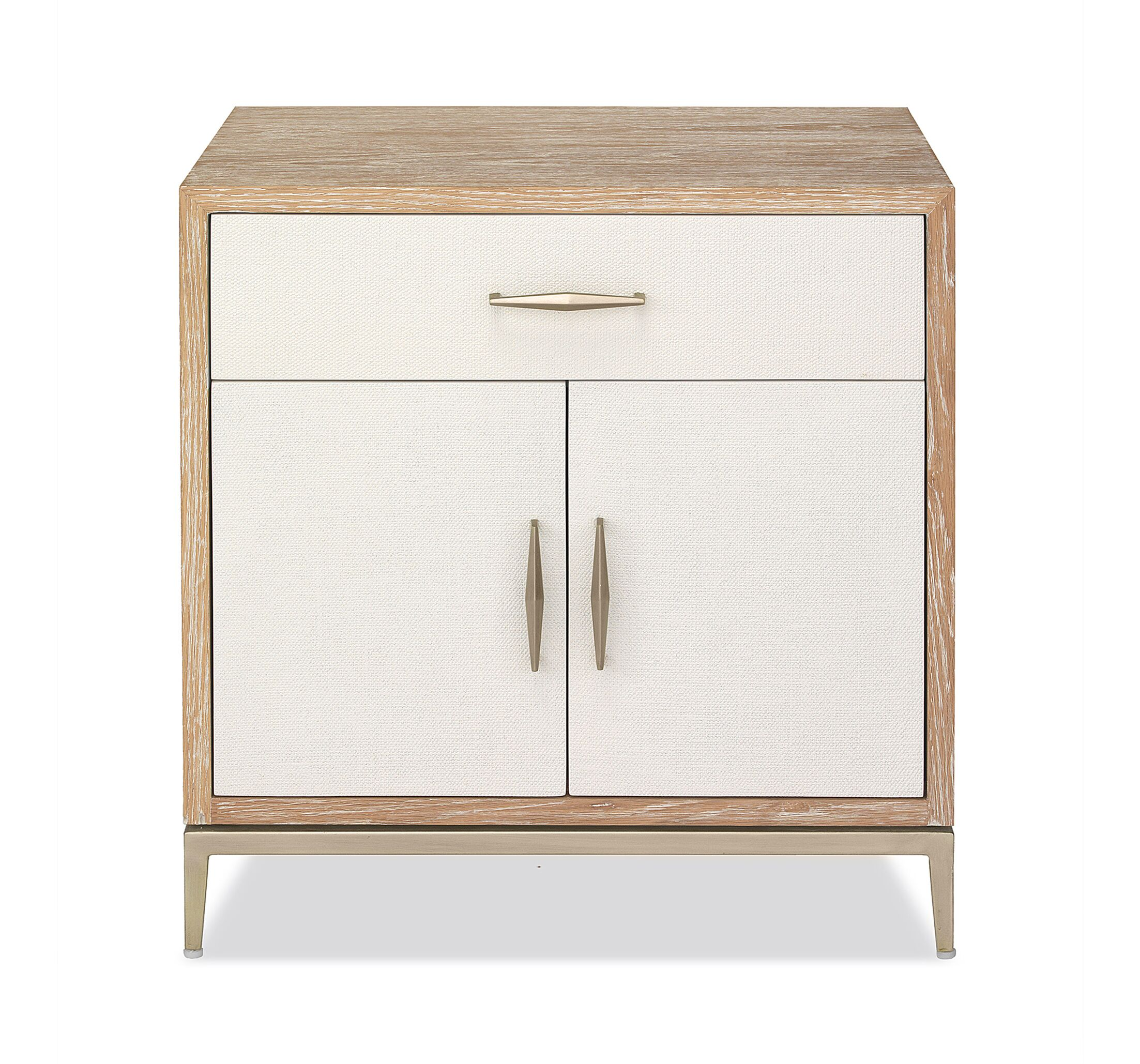 Corinna Nightstand Color(Top/Base/Hardware): Whitewash Oak/ Natural White/ Champagne Silver