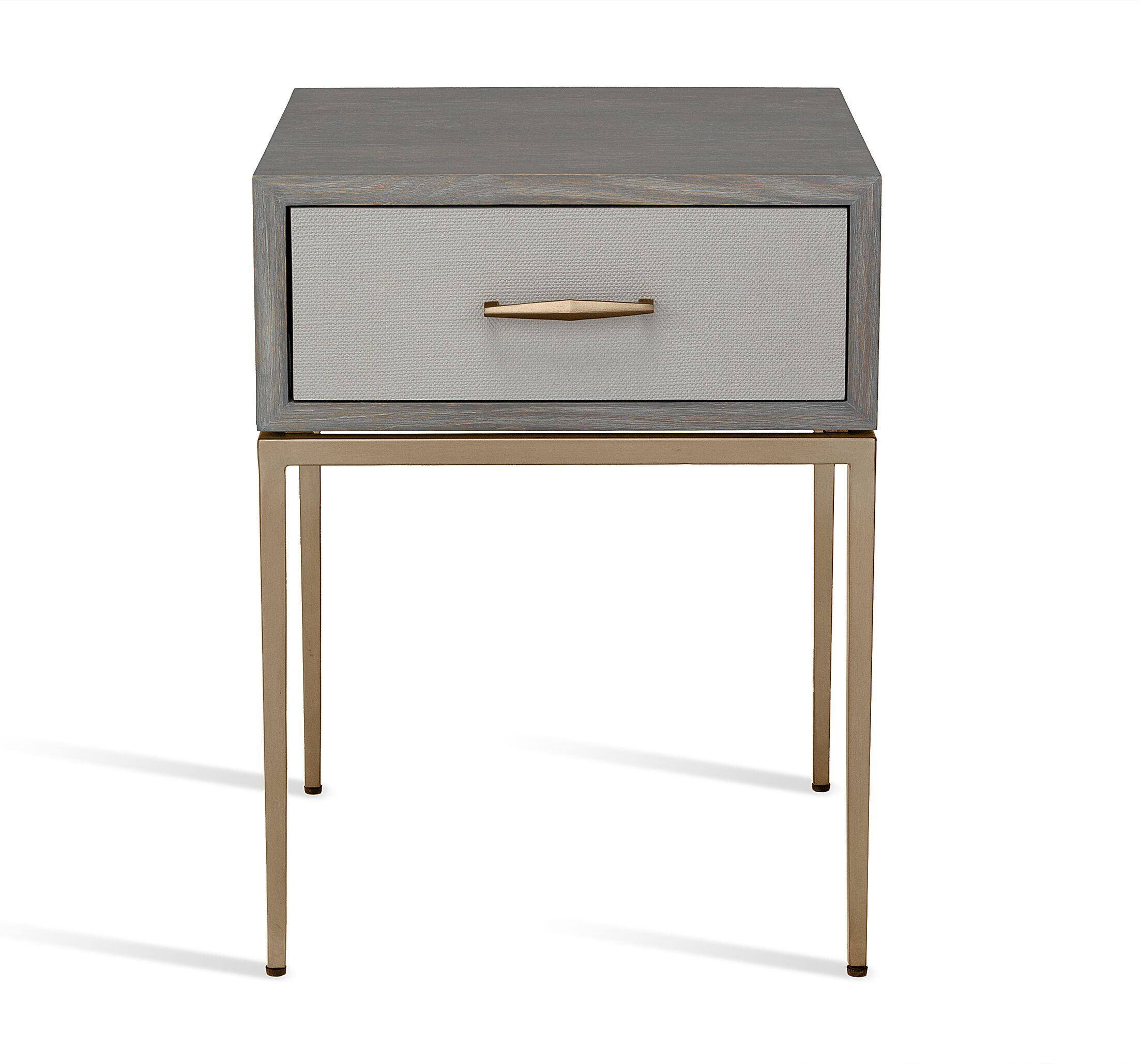 Corinna 1 Drawer Nightstand Color(Top/Base/Hardware): Gray Wash Oak/ Light Gray/ Antique Brass