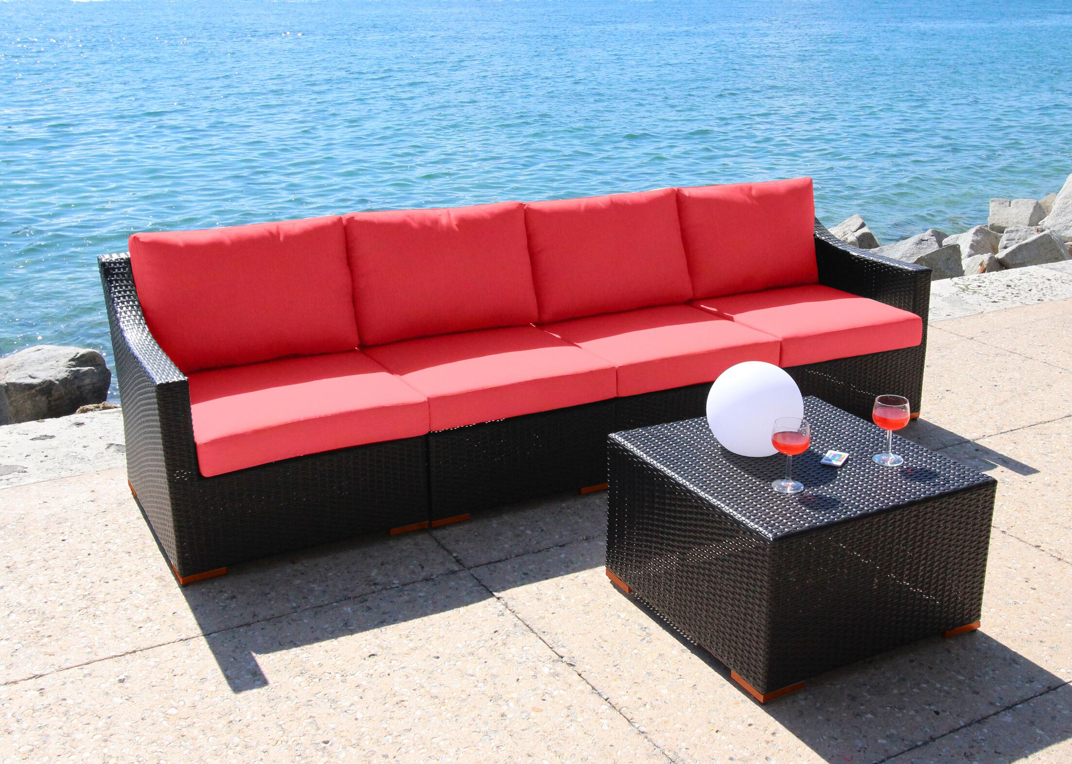 Marcelo 5 Piece Sofa Set Fabric: Dura-Fast Red
