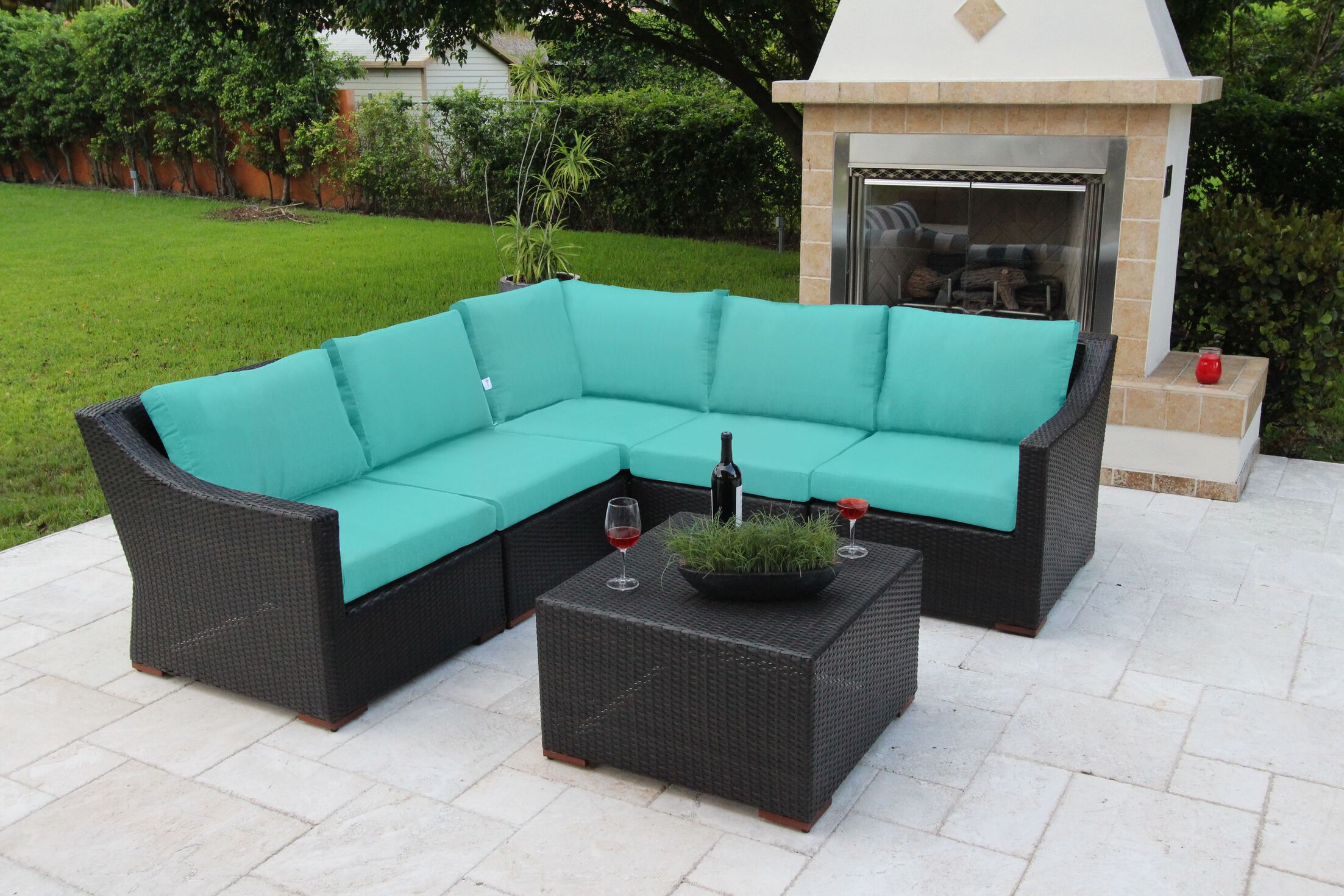 Marcelo 6 Piece Sunbrella Sectional Set with Cushions Fabric: Blue - Canvas Aruba