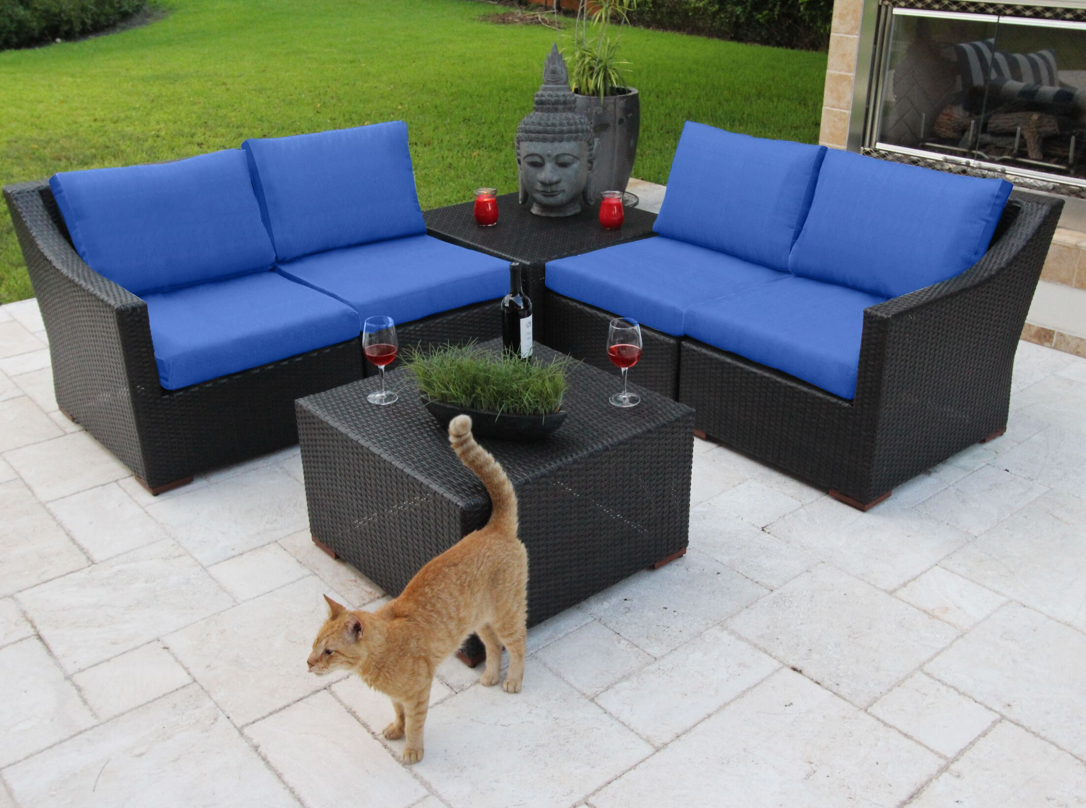 Marcelo 6 Piece Sunbrella Sofa Set with Cushions Fabric: Blue - Canvas True Blue