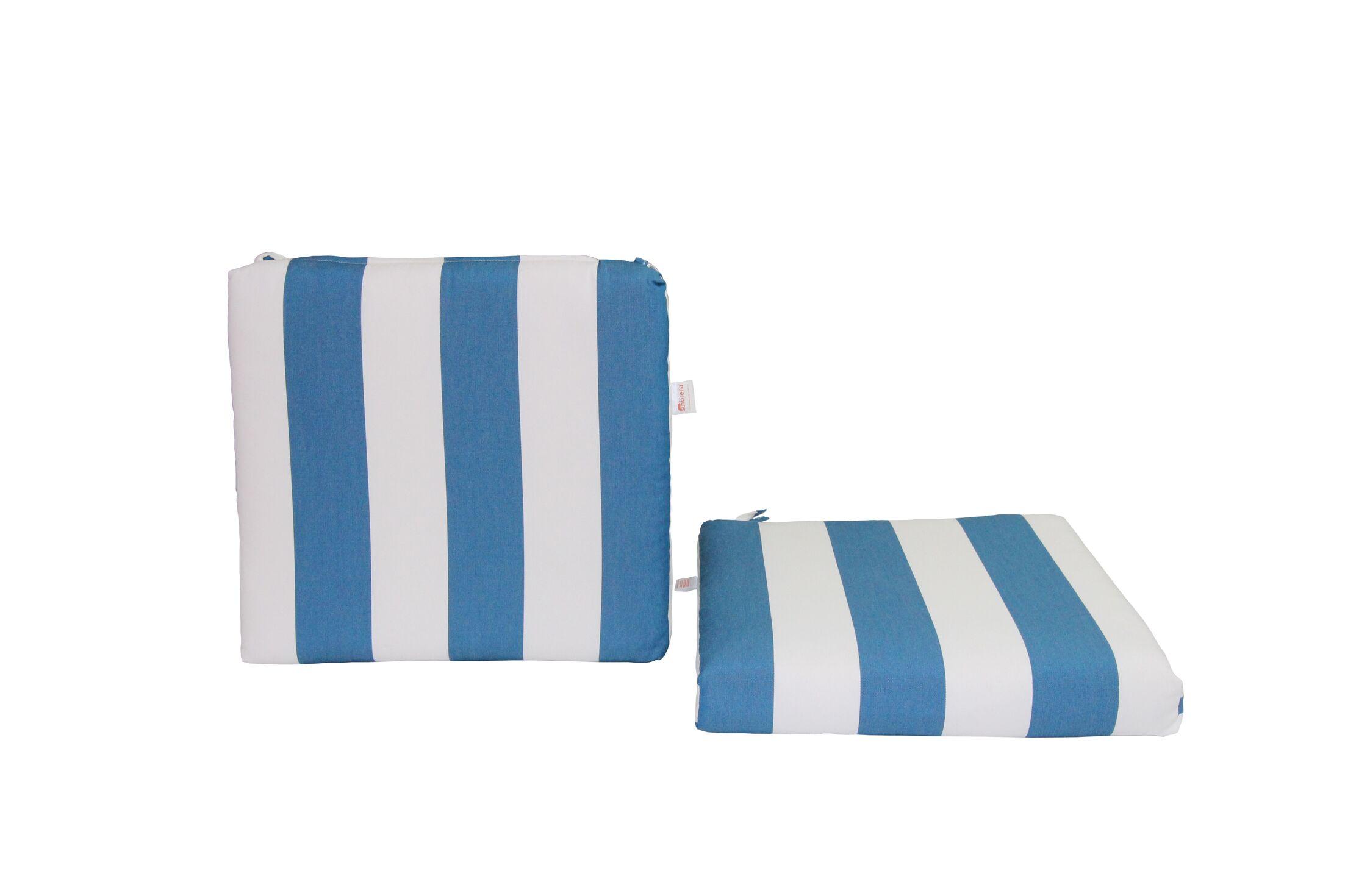 Indoor/Outdoor Sunbrella Dining Chair Cushion Fabric: Cabana Regatta