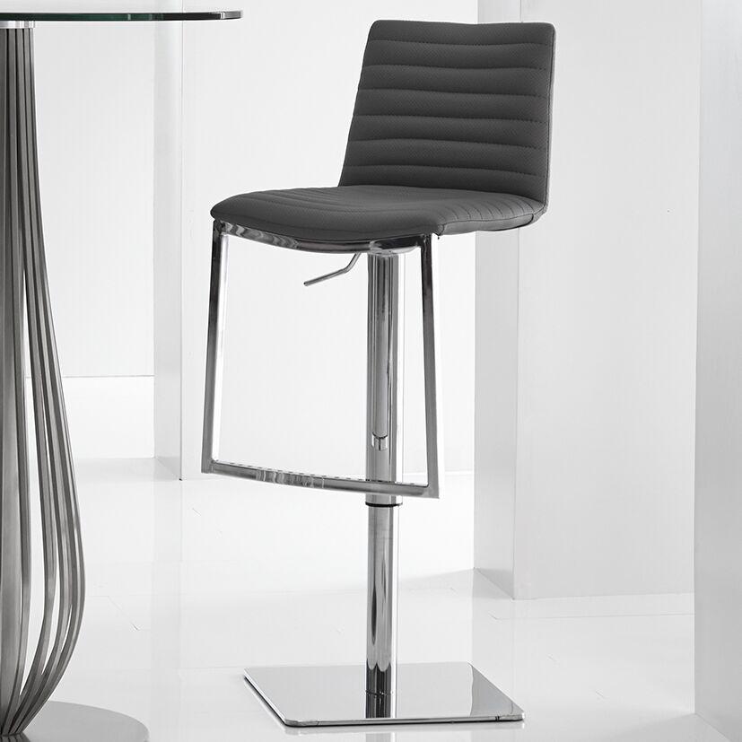 London Adjustable Height Bar Stool Upholstery: Dark Grey