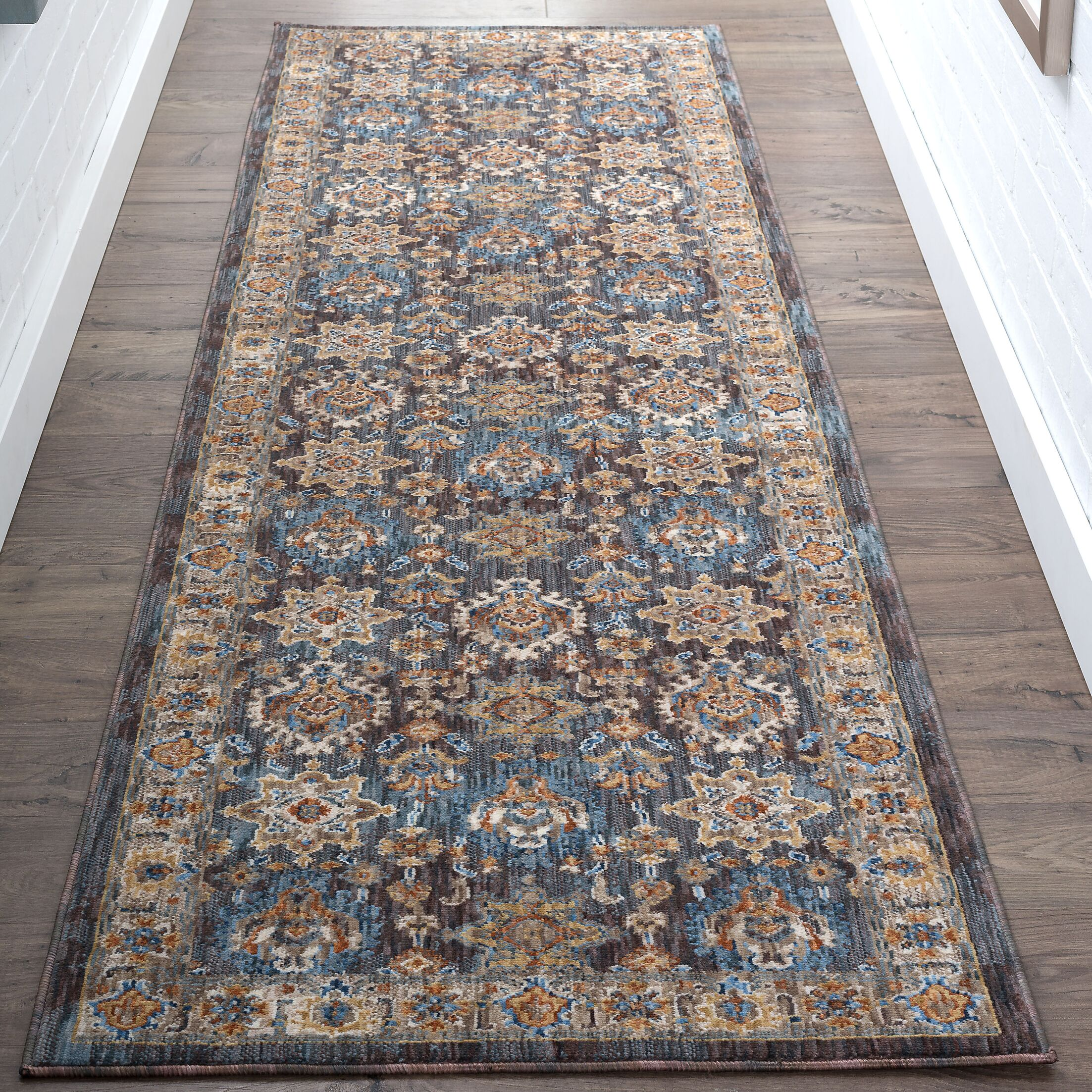 Matteson Traditional Brown/Blue Area Rug Rug Size: 2'3'' x 11'