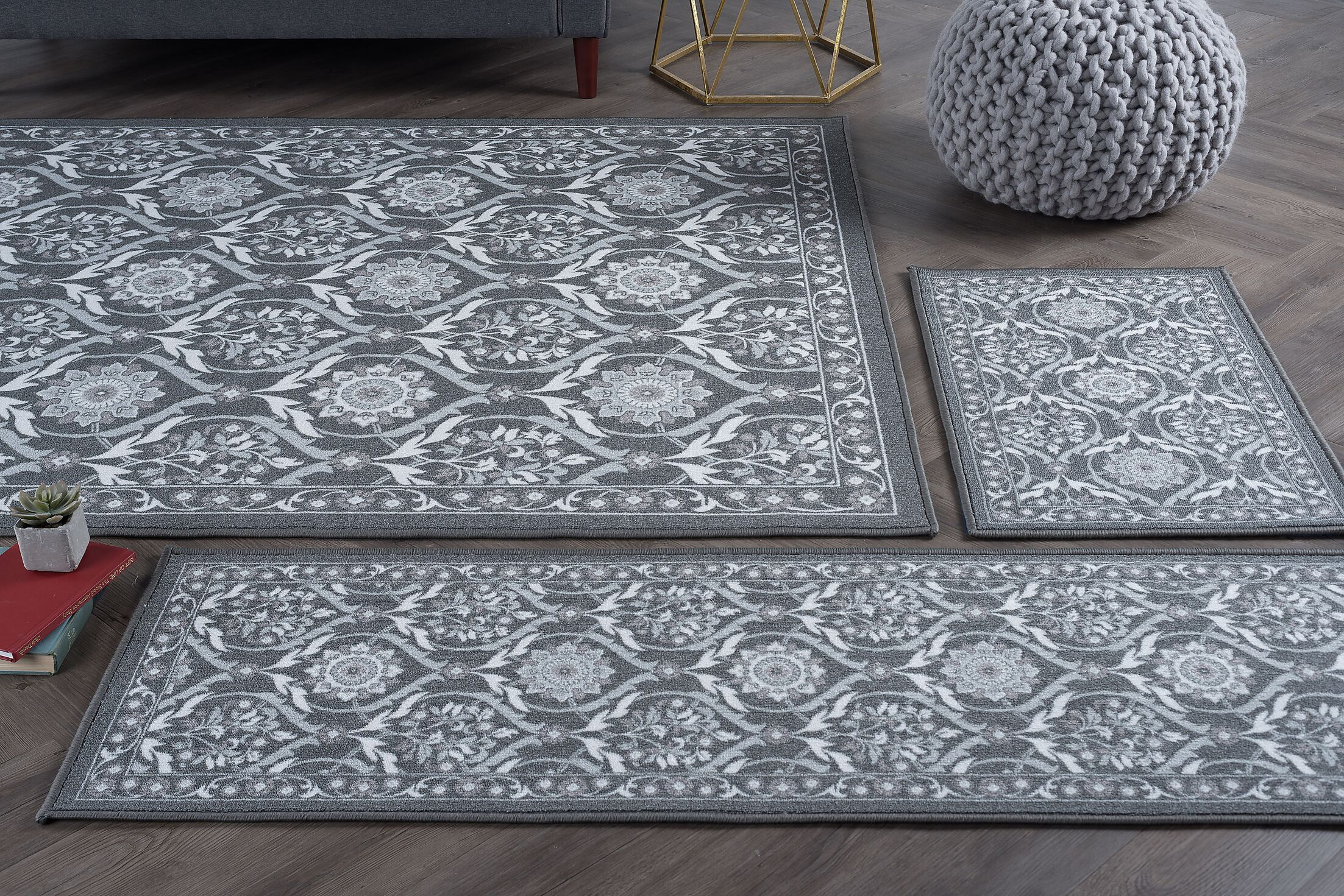 Masonville 3 Piece Charcoal Area Rug