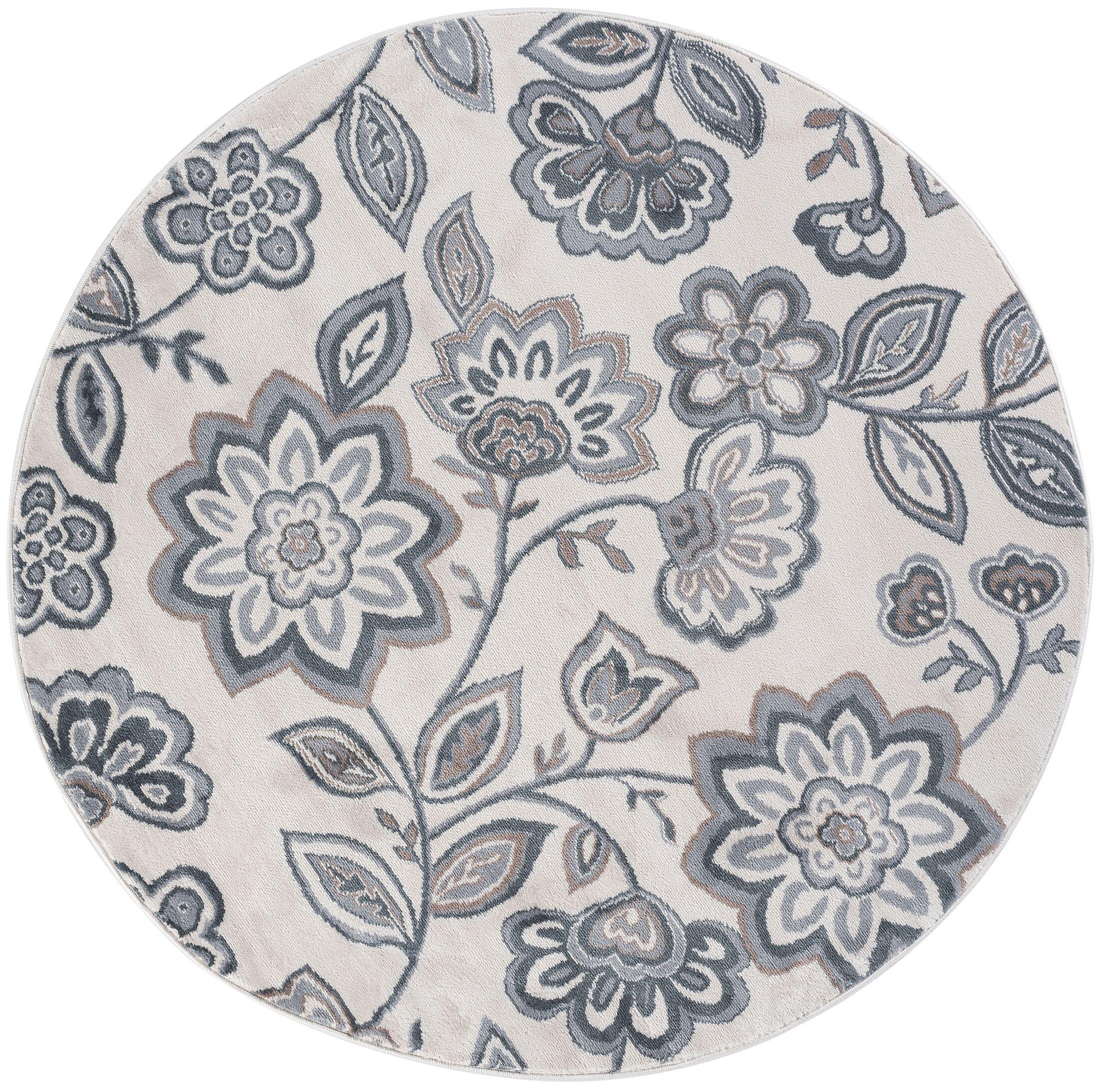 Majoros Modern Floral Cream Area Rug Rug Size: 7'10'' Round
