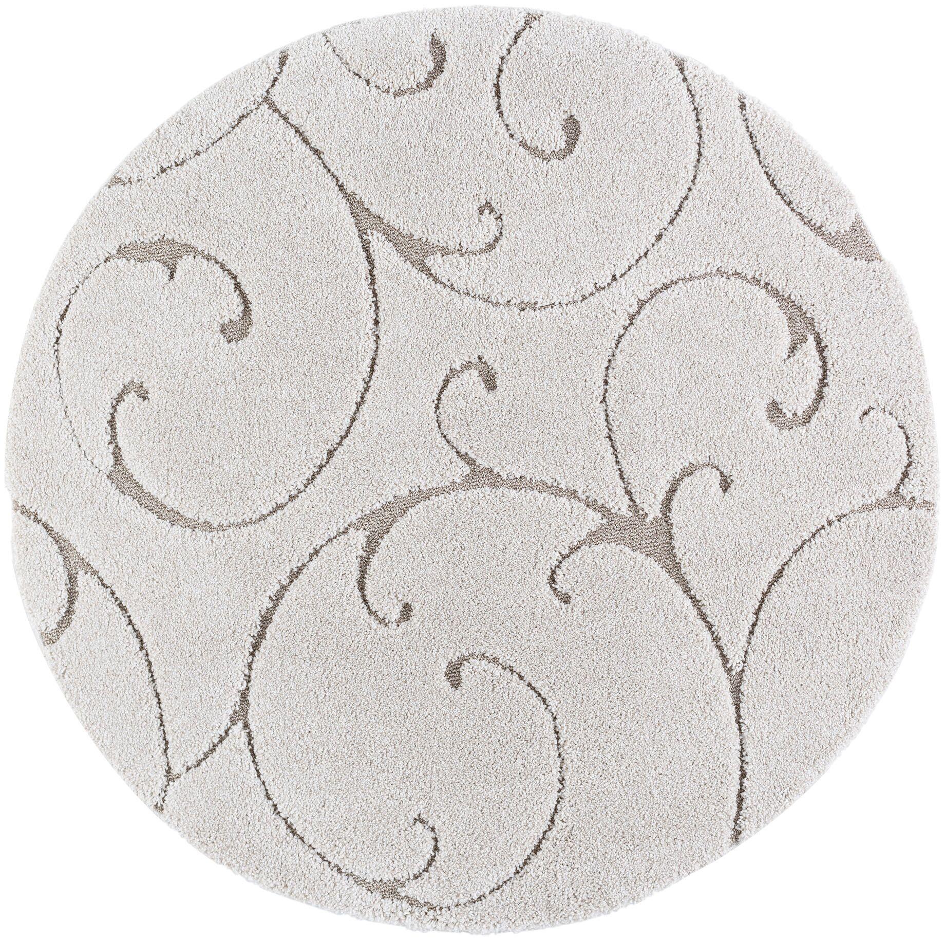 Edda Scrollwork Scatter Cream Area Rug Rug Size: 5'3'' Round