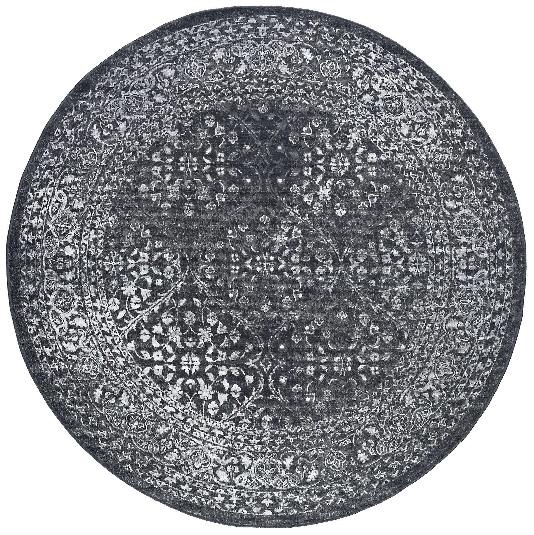 Tyshawn Modern Oriental Gray Area Rug Rug Size: 7'10'' Round