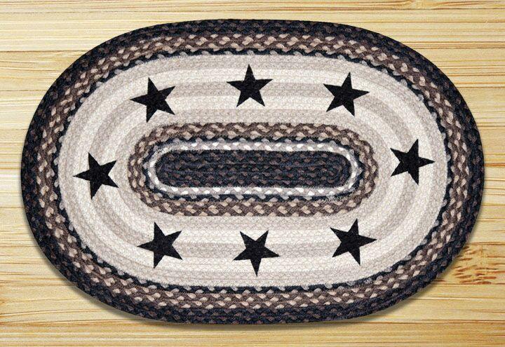 Black Stars Printed Area Rug