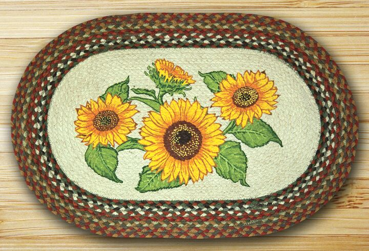 Sunflowers Oval Multi Patch Area Rug