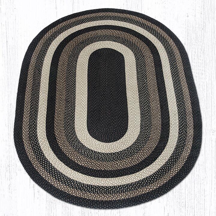 Mocha/Frappuccino Braided Area Rug Rug Size: Oval 6' x 9'