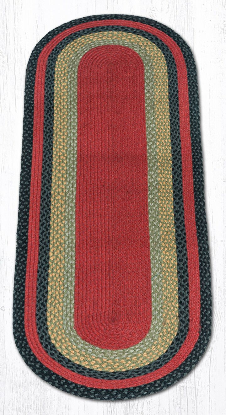 Burgundy/Olive/Charcoal Braided Area Rug Rug Size: Oval Runner 2' x 6'