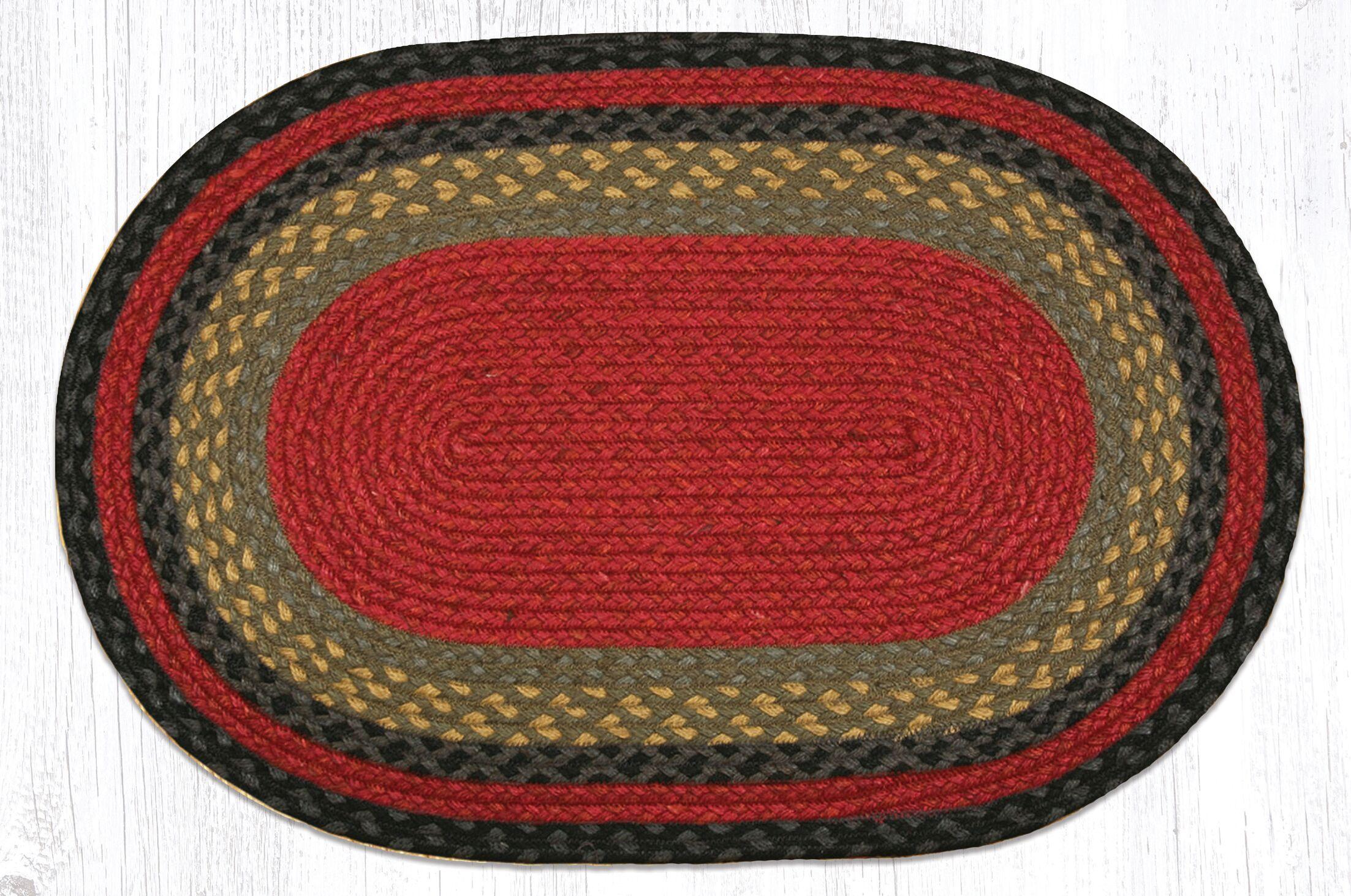 Burgundy/Olive/Charcoal Braided Area Rug Rug Size: Oval 1'8