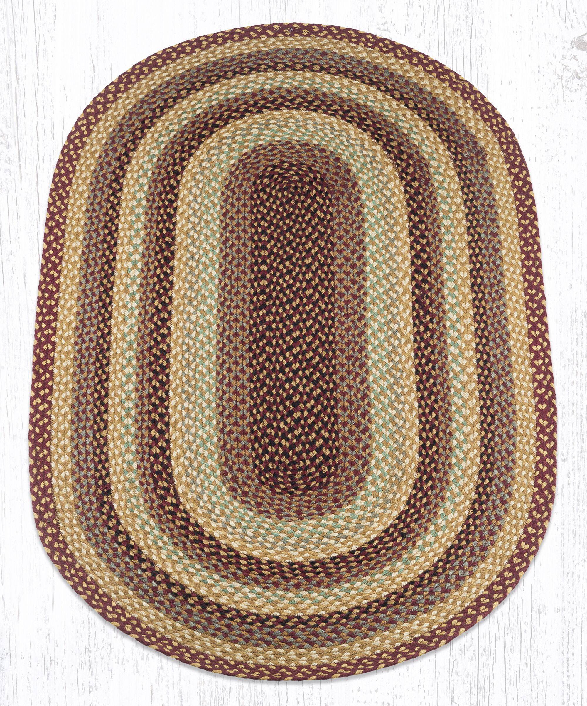 Burgundy/Gray/Crème Braided Area Rug Rug Size: Oval 3' x 5'