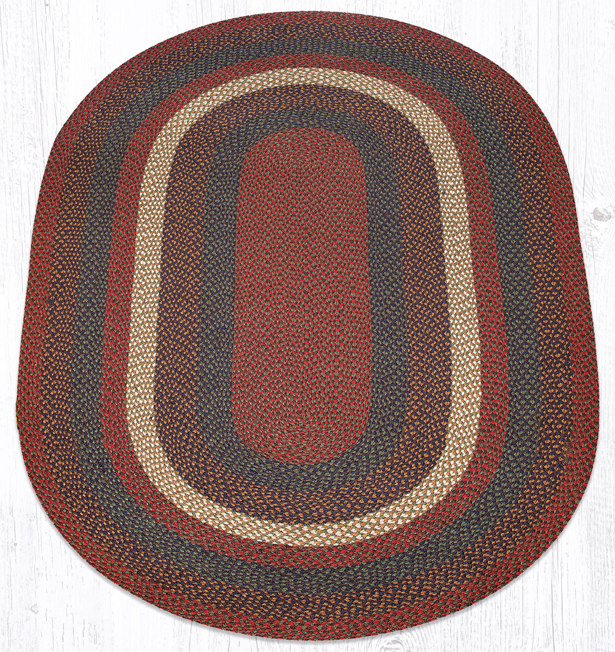 Burgundy/Gray Braided Area Rug Rug Size: Oval 5' x 8'