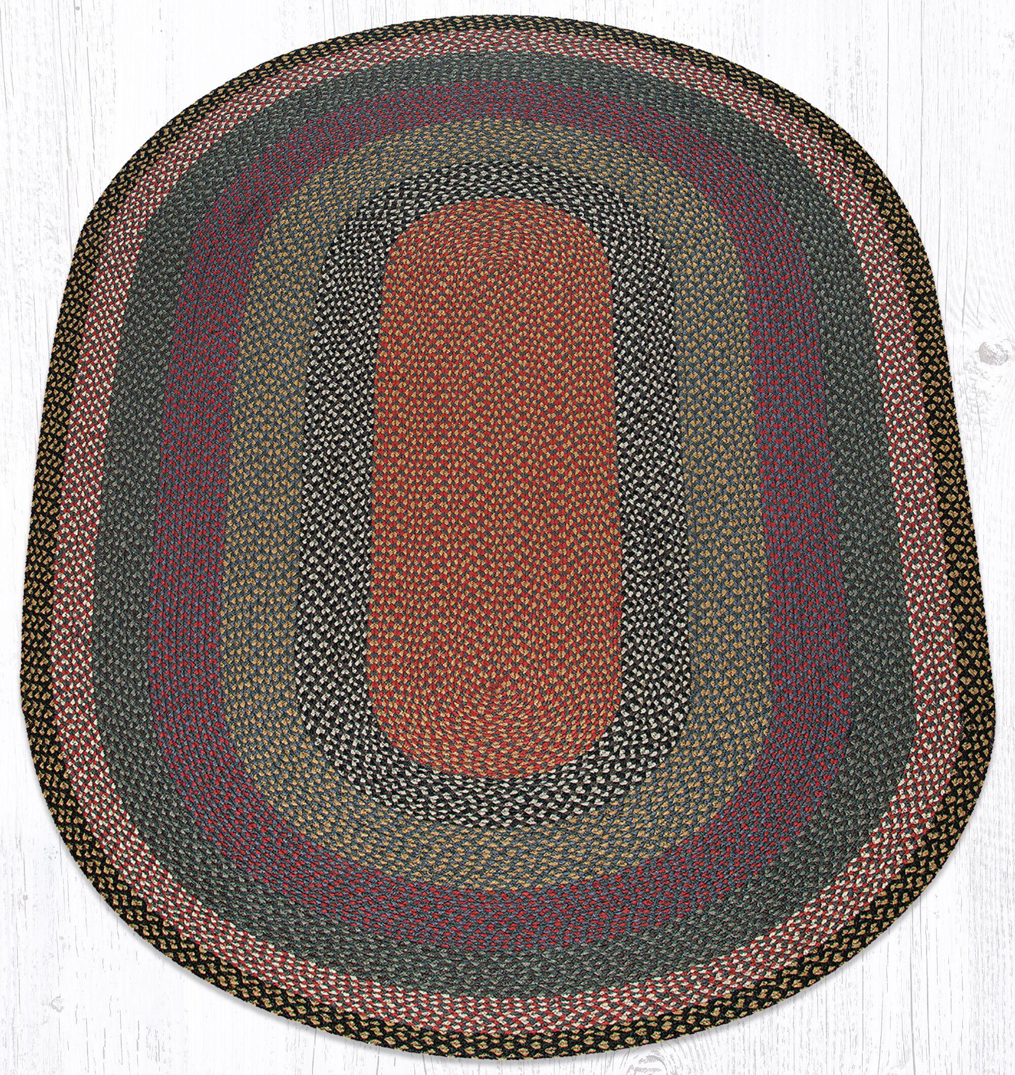 Burgundy/Blue/Gray Braided Area Rug Rug Size: Oval 5' x 8'