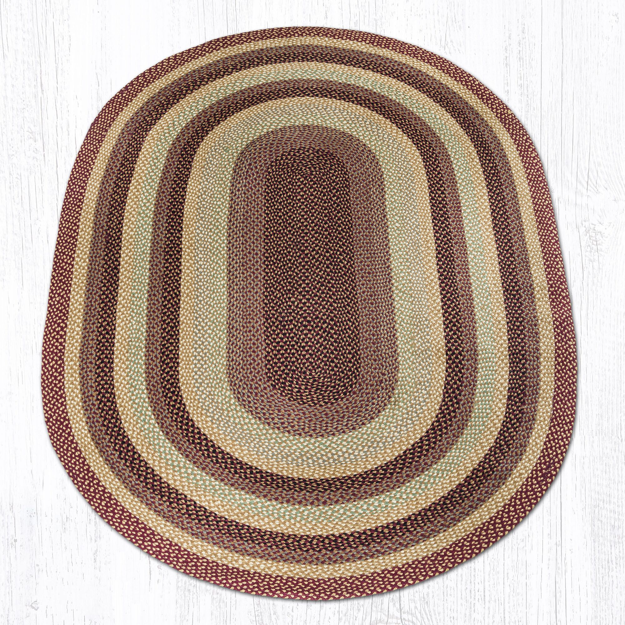 Burgundy/Gray/Crème Braided Area Rug Rug Size: Oval 6' x 9'