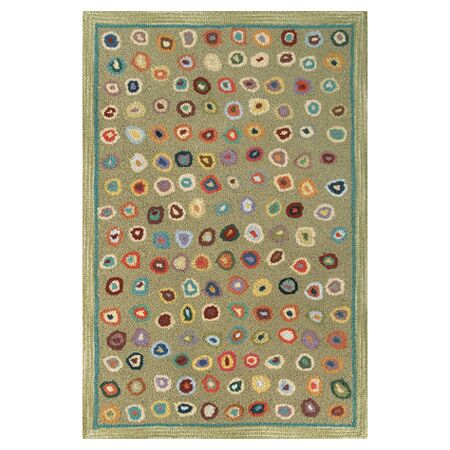 Hooked Green Area Rug Rug Size: 2' x 3'