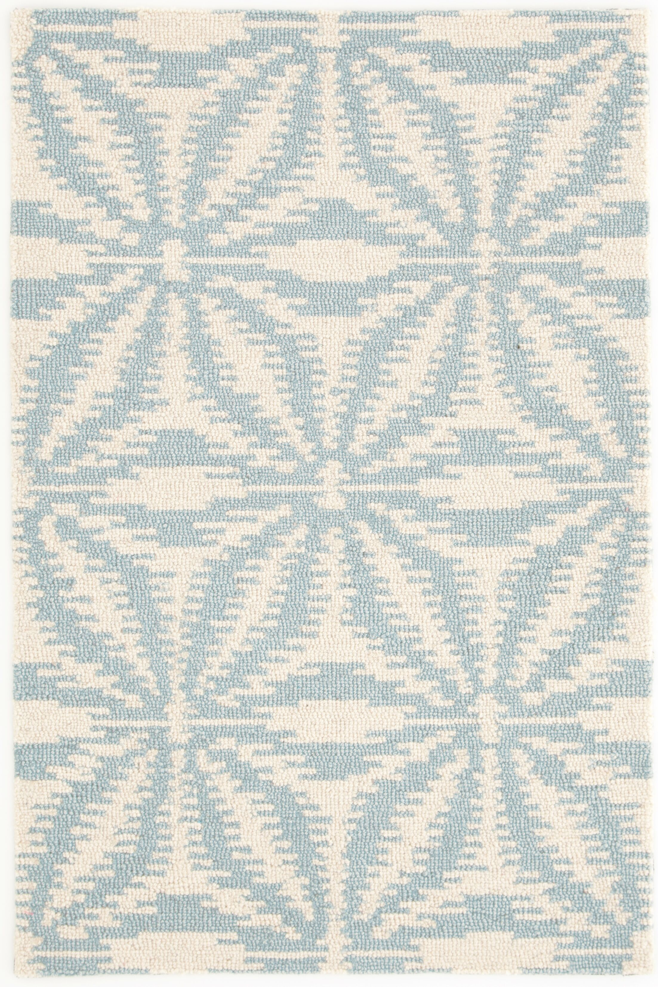 Aster Hooked White/Blue Area Rug Rug Size: Rectangle 5' x 8'