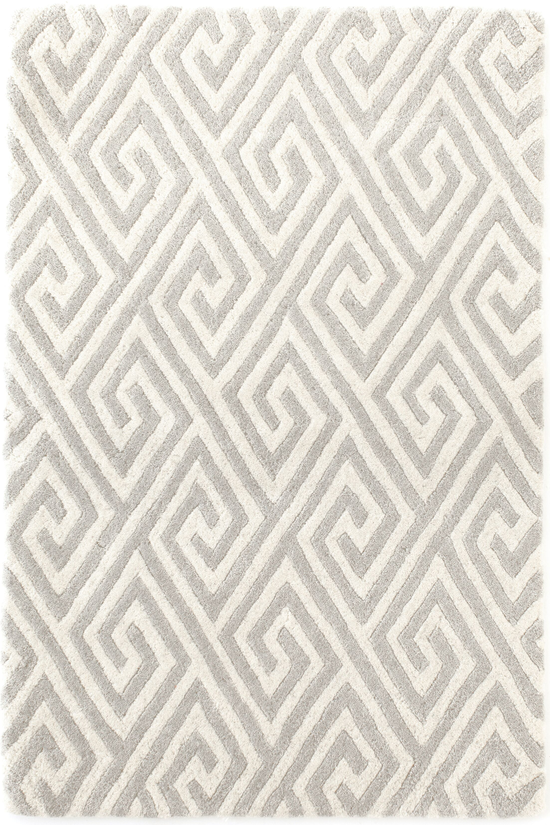 Fretwork Tufted Grey Area Rug Rug Size: Rectangle 3' x 5'