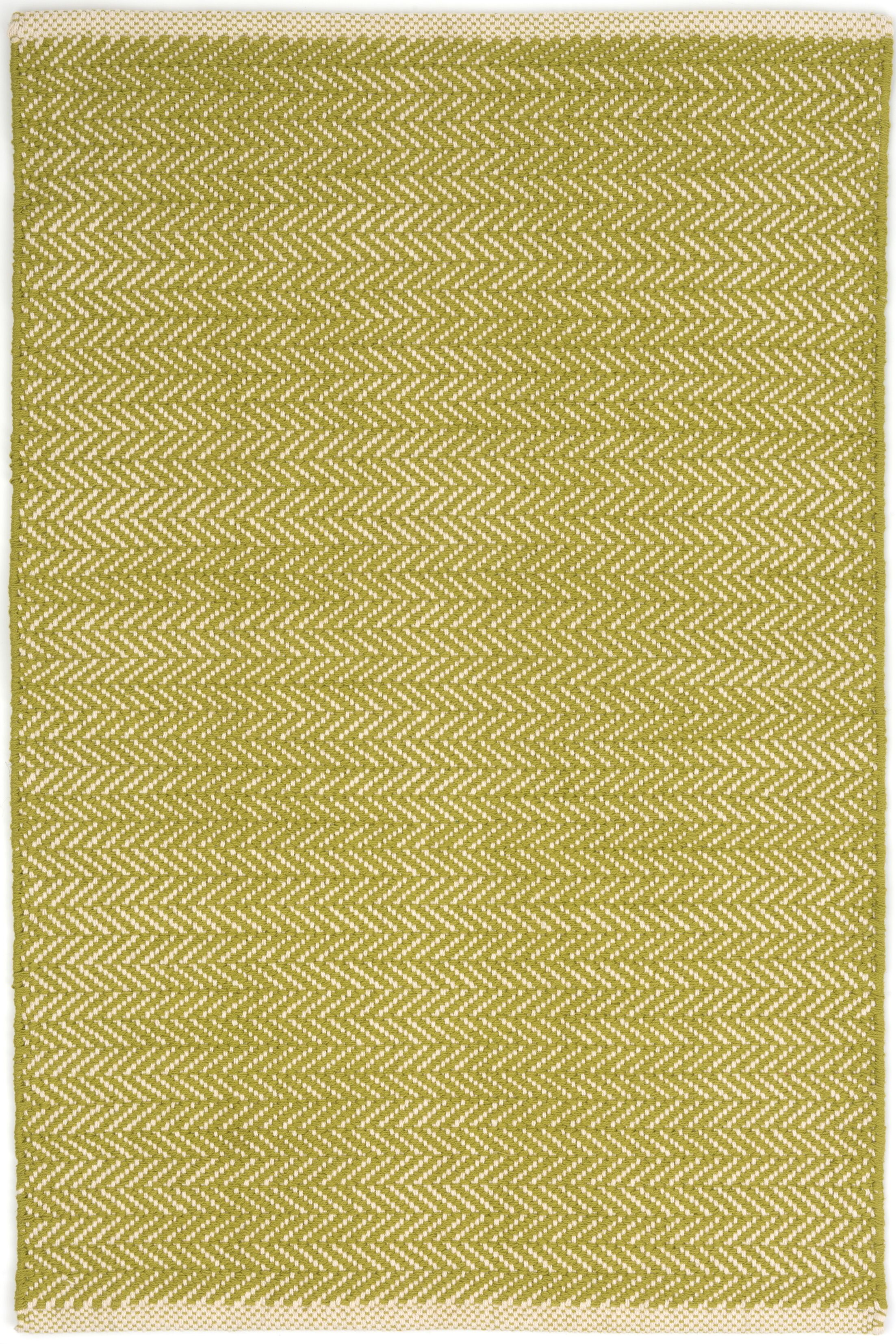 Herringbone Hand Woven Cotton Green Area Rug Rug Size: Rectangle 6' x 9'
