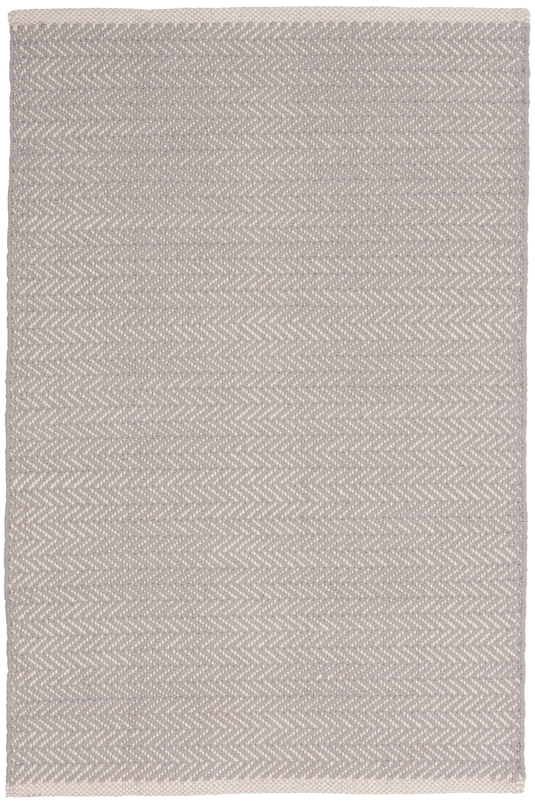 Herringbone Hand-Woven Grey Area Rug Rug Size: Rectangle 8' x 10'