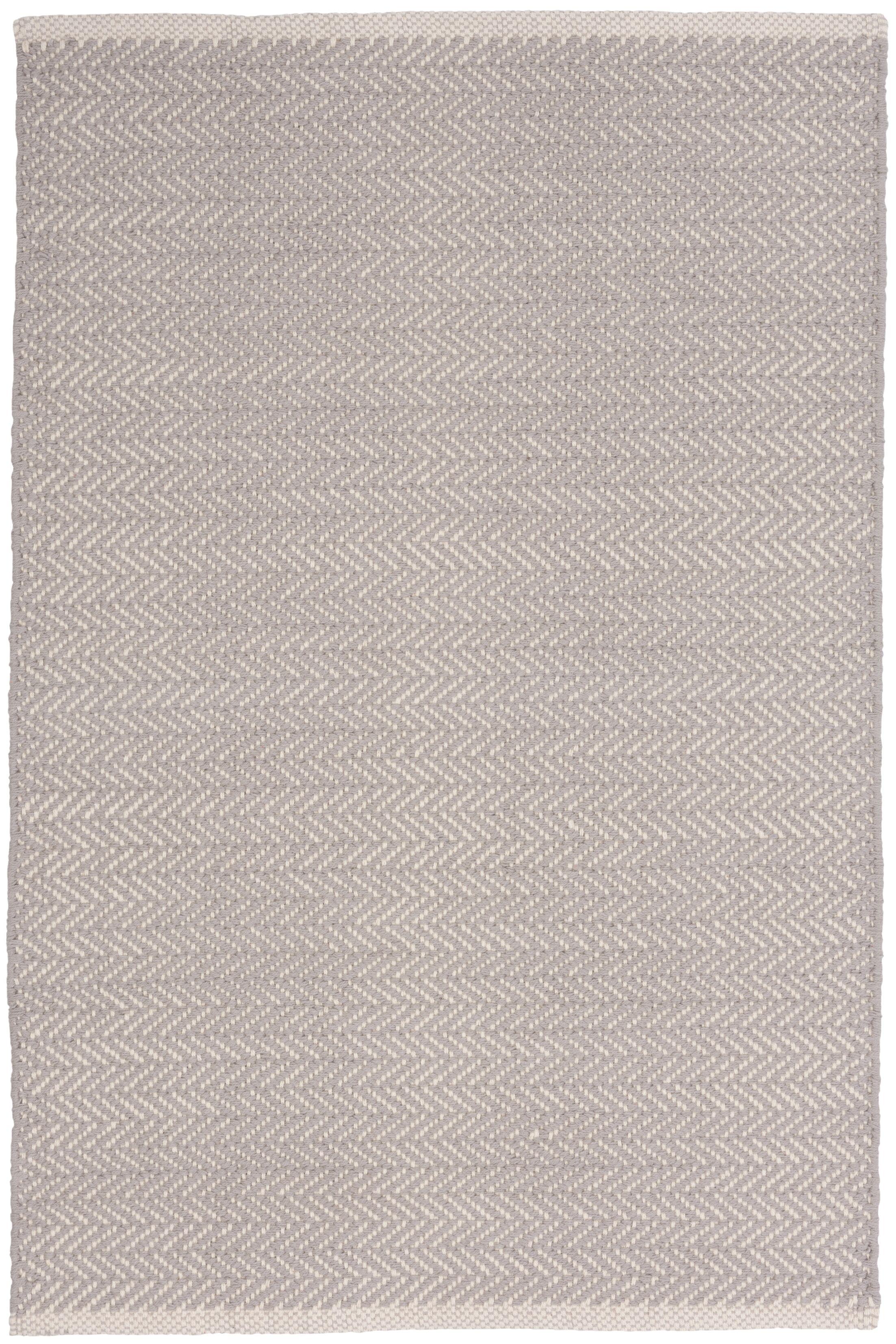 Herringbone Hand-Woven Grey Area Rug Rug Size: Rectangle 6' x 9'