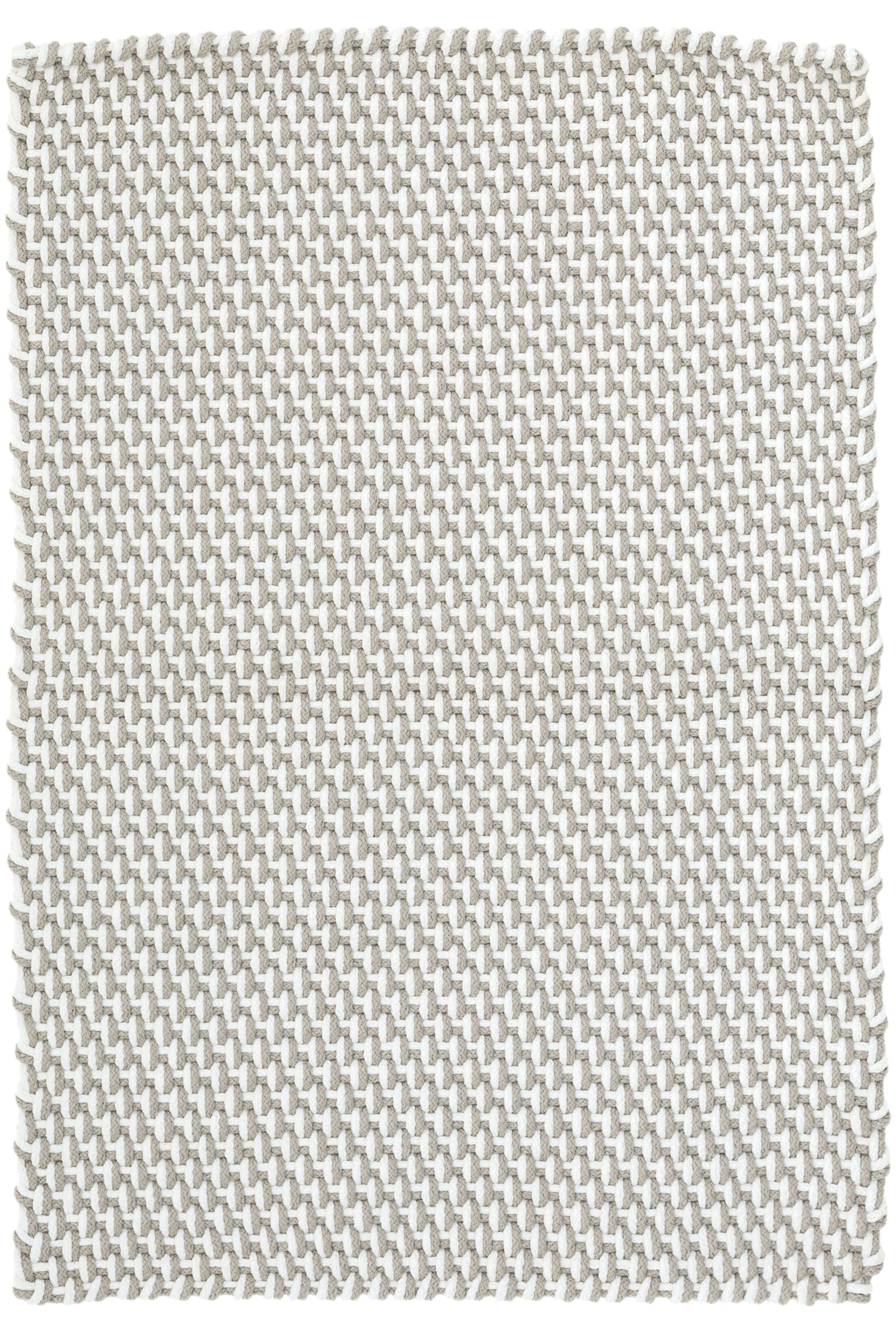 Two-Tone Rope Platinum/White Indoor/Outdoor Area Rug Rug Size: 8'6