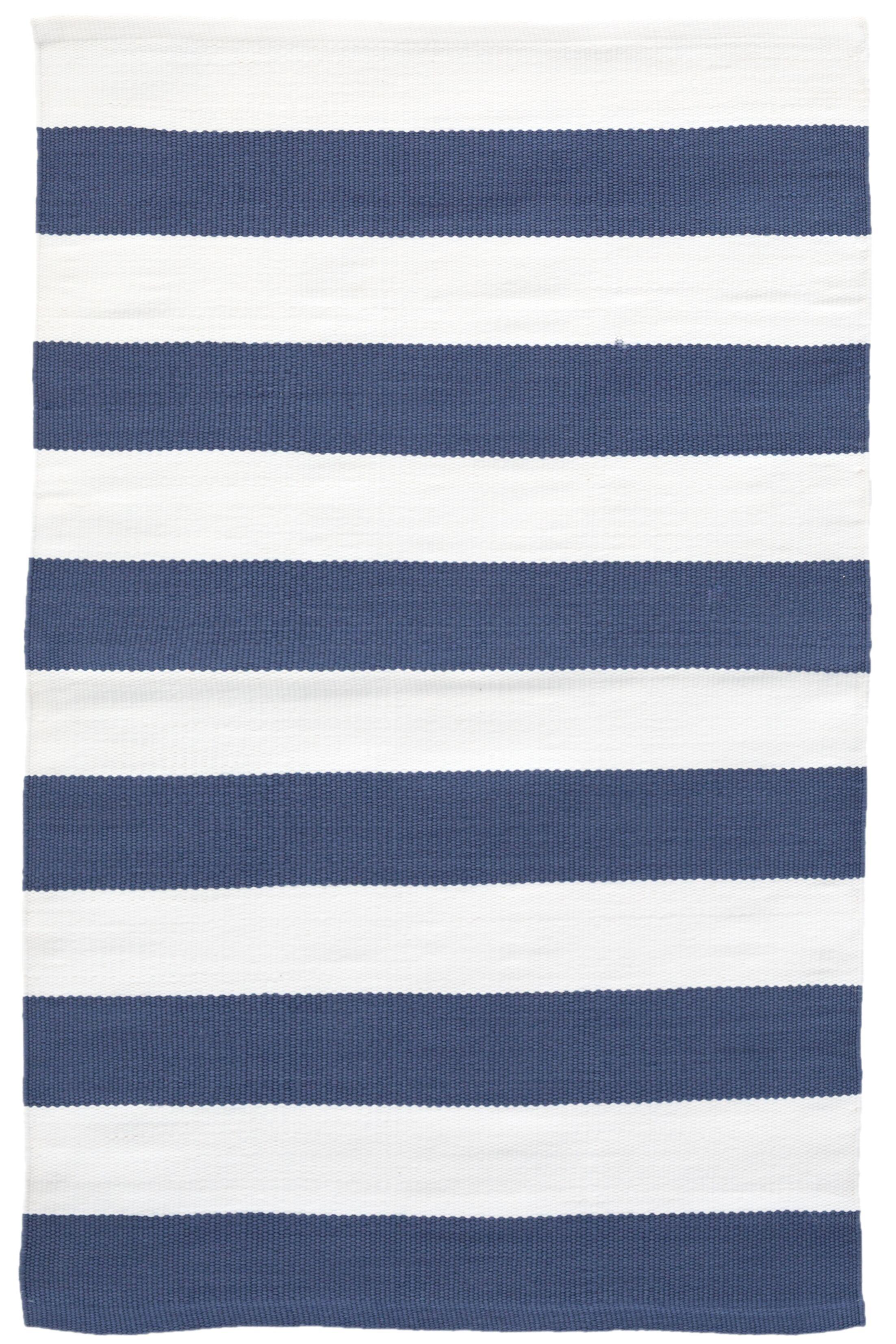 Catamaran Stripe Blue/White Indoor/Outdoor Area Rug Rug Size: 6' x 9'