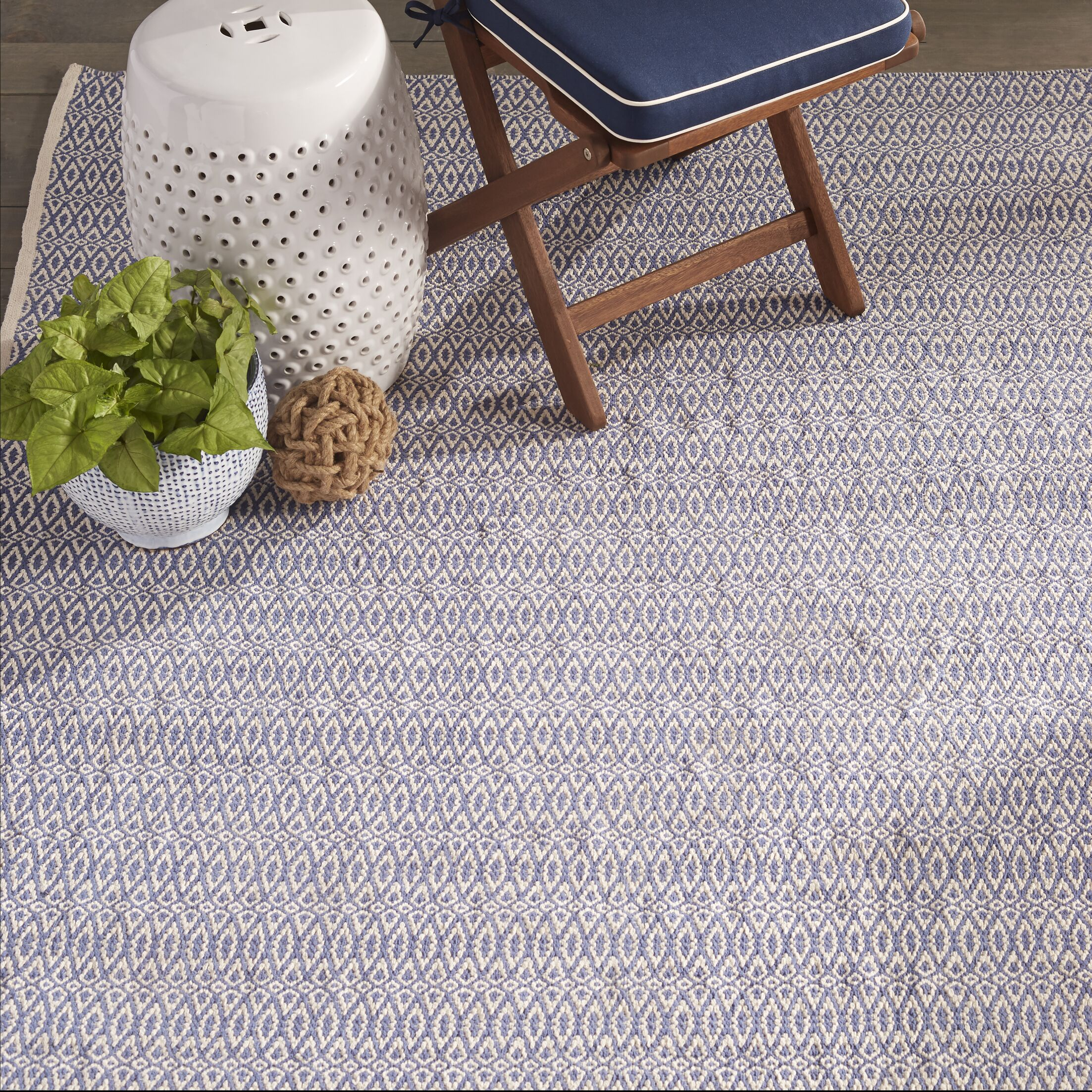 Fair Isle French Hand-Woven Cotton Blue/Ivory Area Rug Rug Size: Rectangle 6' x 9'