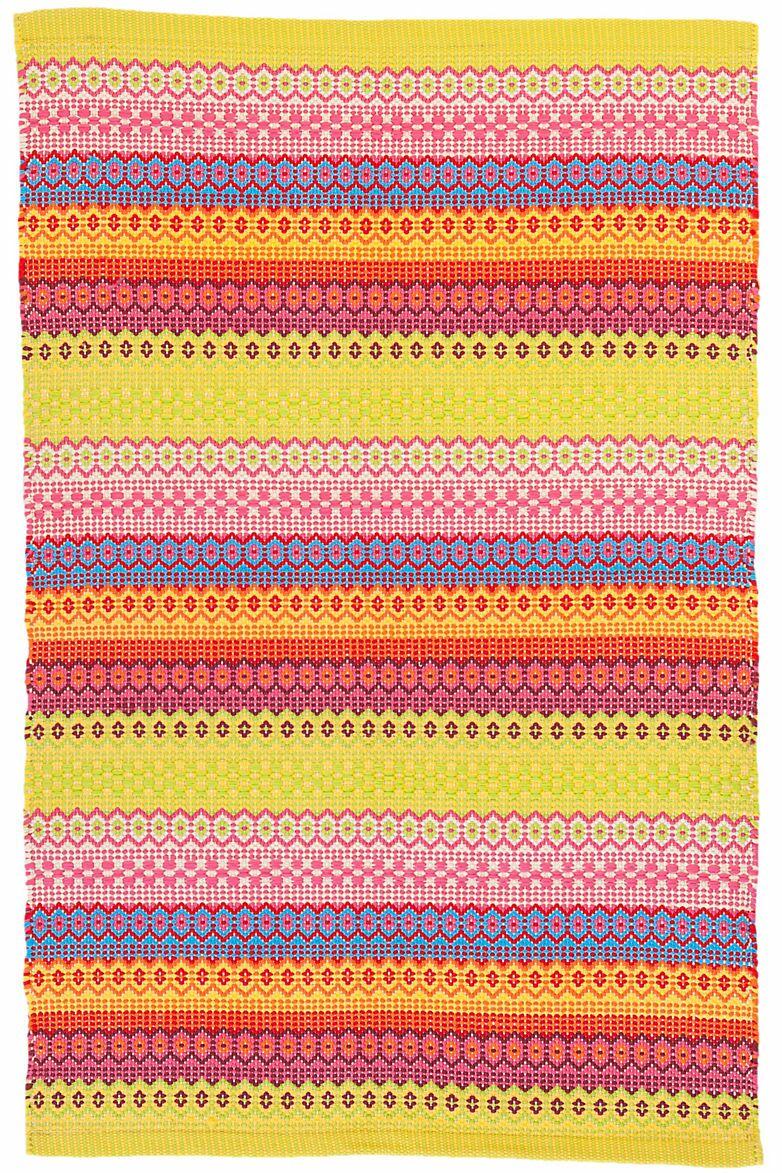 Fiesta Stripe Yellow/Blue Indoor/Outdoor Area Rug Rug Size: 3' x 5'