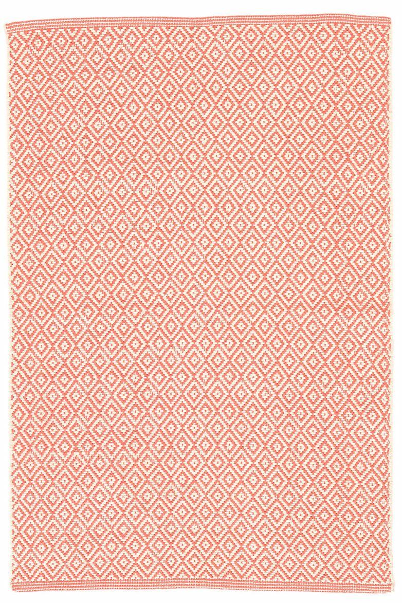 Lattice Cotton Coral Area Rug Rug Size: 4' x 6'