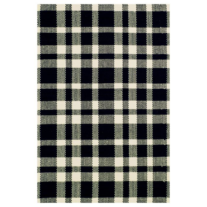 Hand Woven Cotton Black Area Rug Rug Size: 6' x 9'