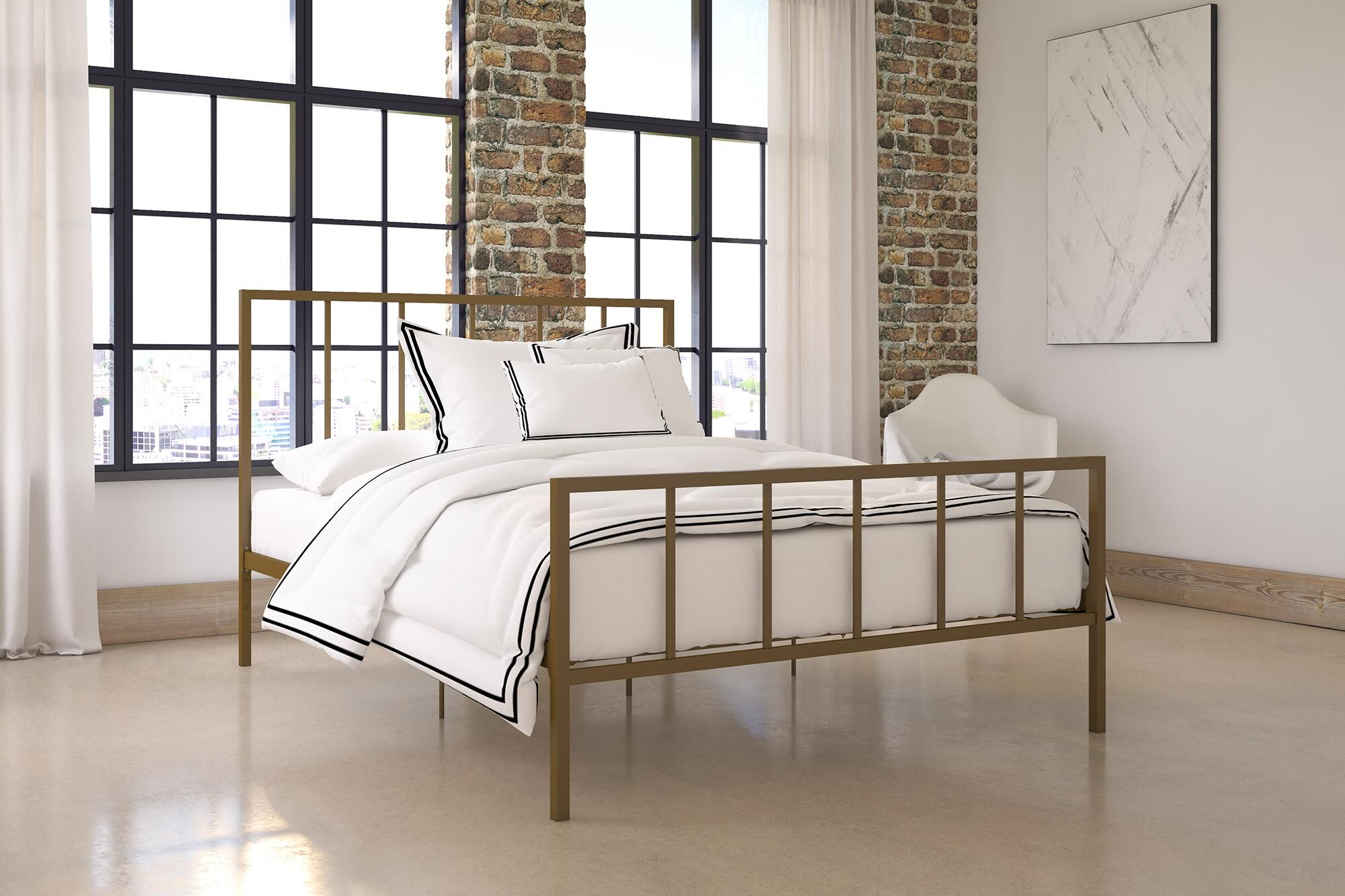 Creek Side Platform Bed Color: Gold, Size: King