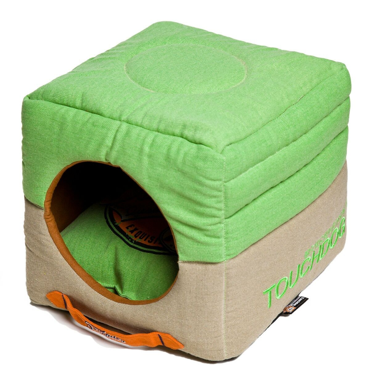 Convertible and Reversible Vintage Printed Squared 2-in-1 Collapsible Dog House Bed Color: Green