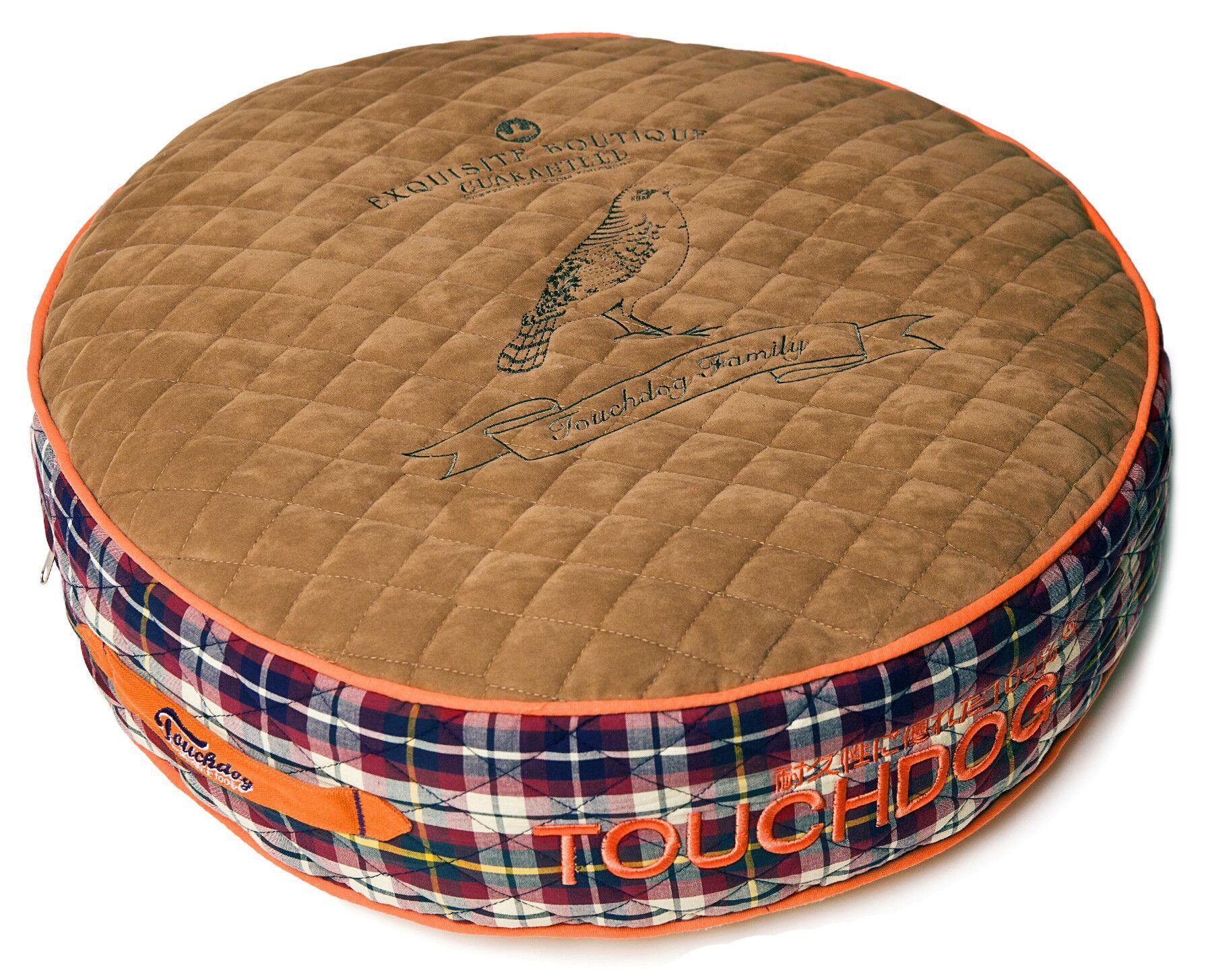 Bark-Royale Posh Rounded and Raised Designer Fleece Plaid Dog Bed Size: Medium (24.4