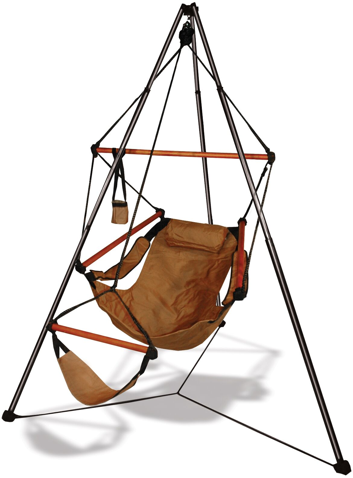 Polyester Chair Hammock with Stand Color: Natural Tan, Dowels: Wood