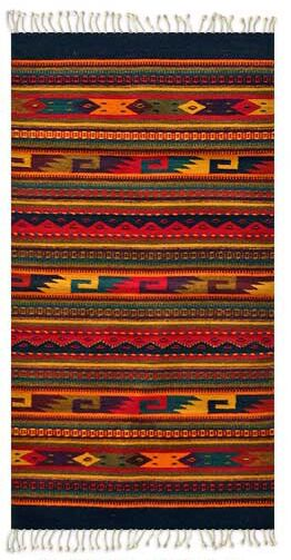 Artisan Crafted Multicolor Fiesta Hand Woven Mexican Naturally Dyed Wool Home Decor Area Rug Rug Size: Rectangle 2'7