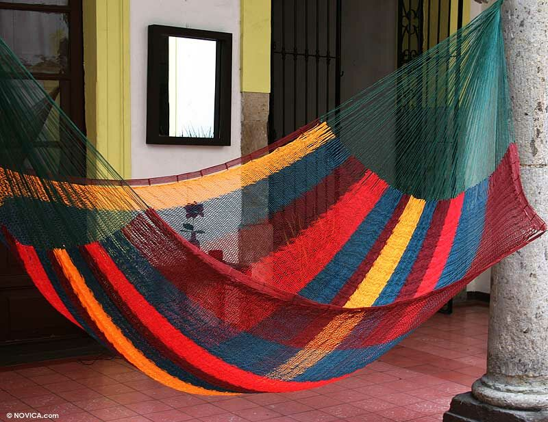 Double Person Striped Red Wine Sunset Hand-Woven Mayan Artists of the Yucatan Nylon With Accessories Included Indoor And Outdoor Hammock