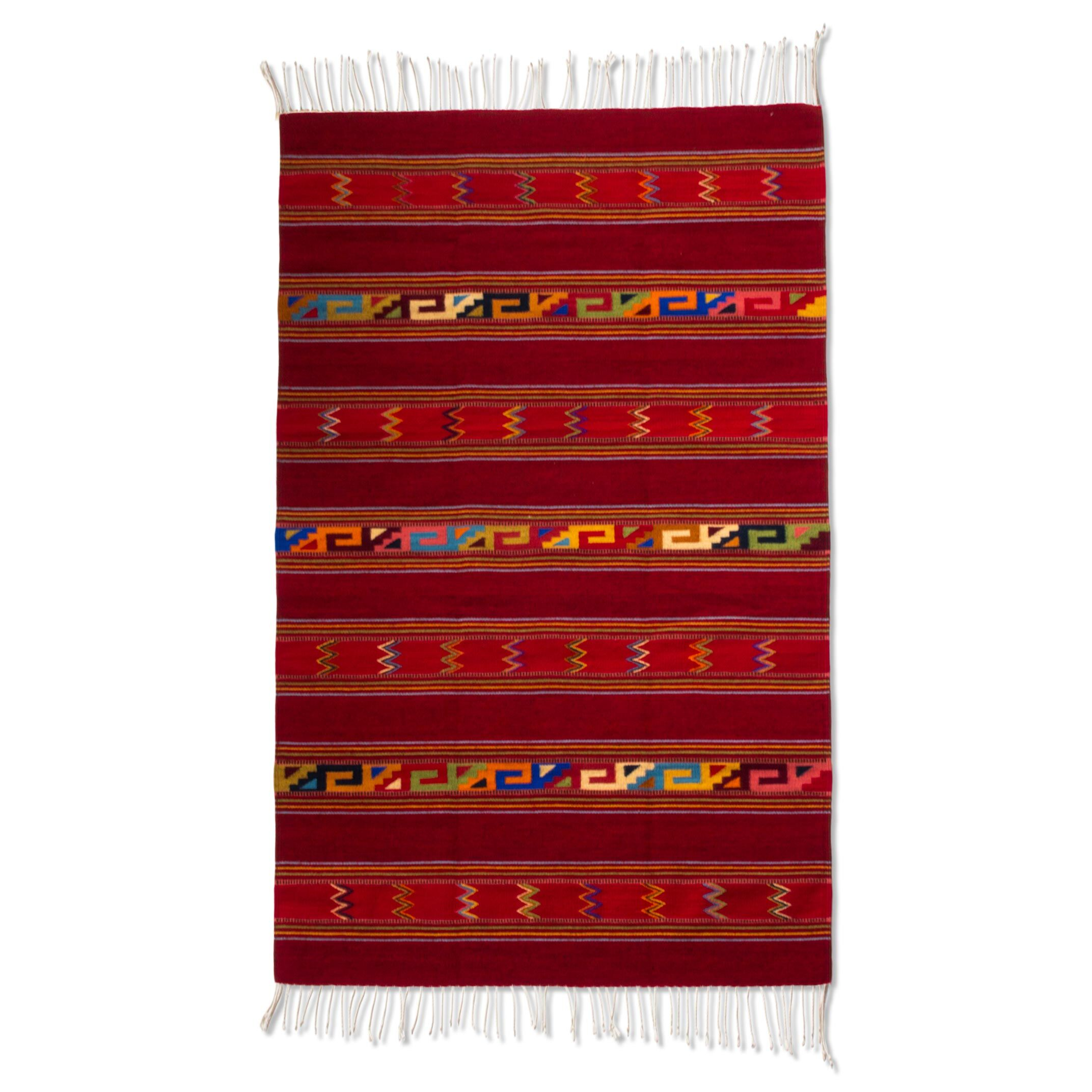 Fair Trade Naturally Dyed Striped Crimson Expertly Hand Woven Mexican Wool Home Decor Area Rug