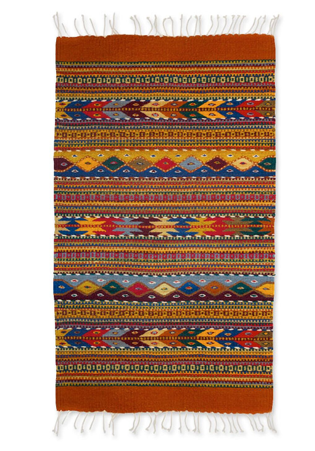 Weare Geometric Earth Tone Expertly Hand Woven Mexican Wool Home Decor Area Rug
