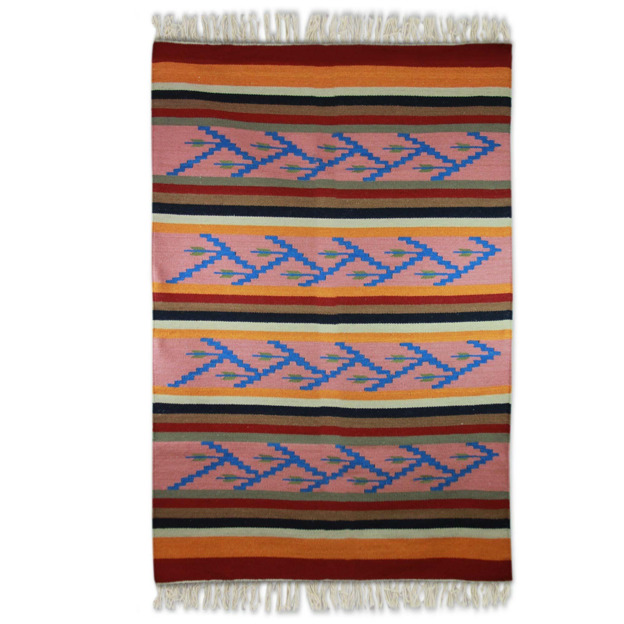 Zigzag Blooms Hand Woven Area Rug
