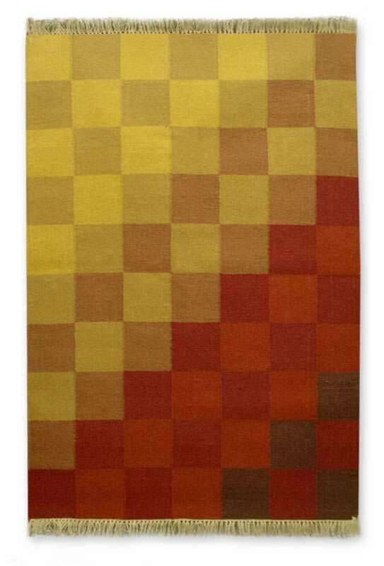 Artisan Crafted Multicolor  'Sunset Geometry' Expertly Hand Woven Indian Wool Home Decor Area Rug
