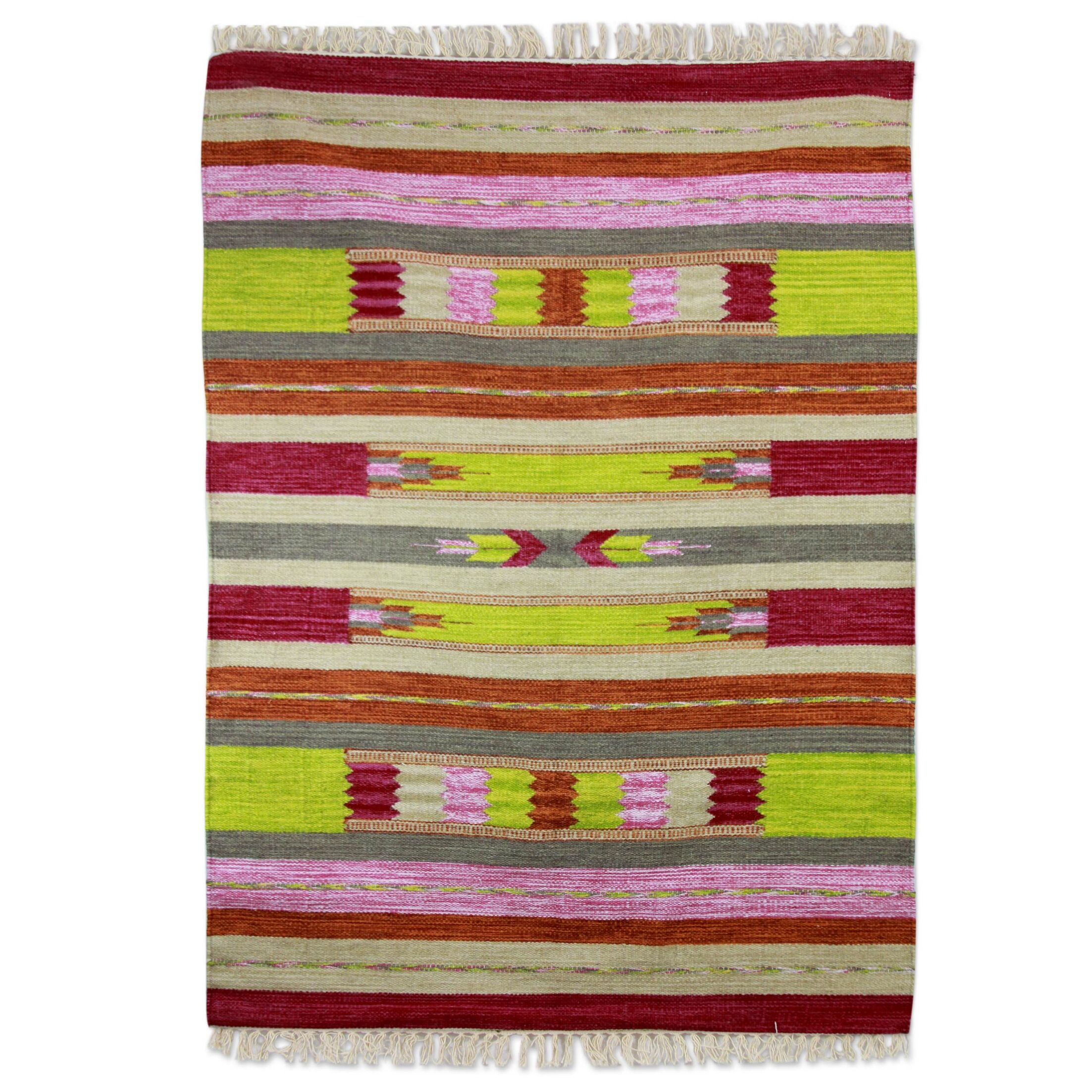 Hand-Loomed Lime/Pink Area Rug