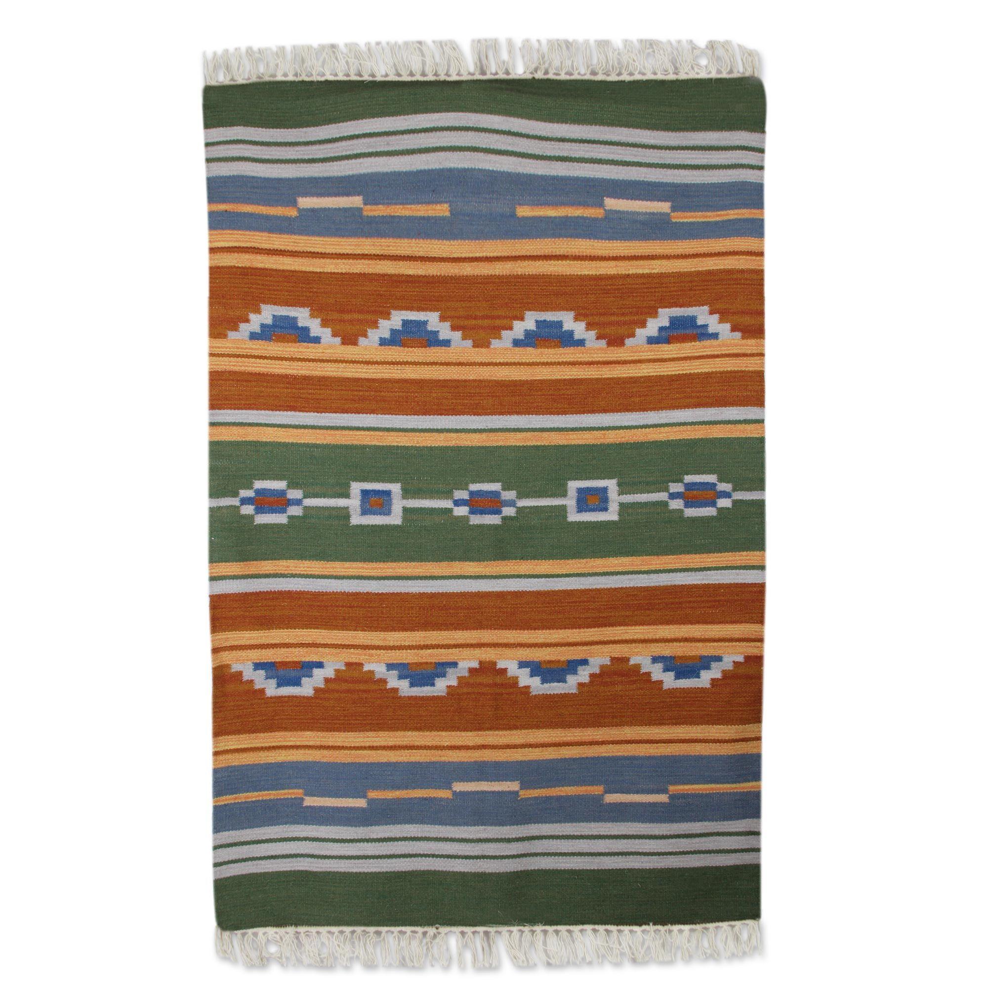 Hand Woven Green/Orange Area Rug