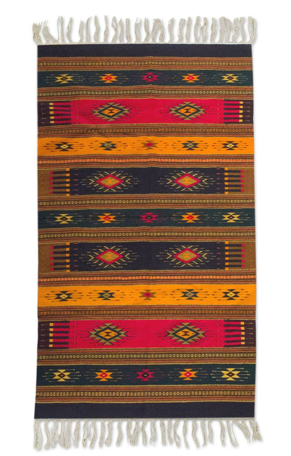 Weare Multicolored 'Colors of Life' Expertly Hand Woven Mexican Wool Home Decor Area Rug