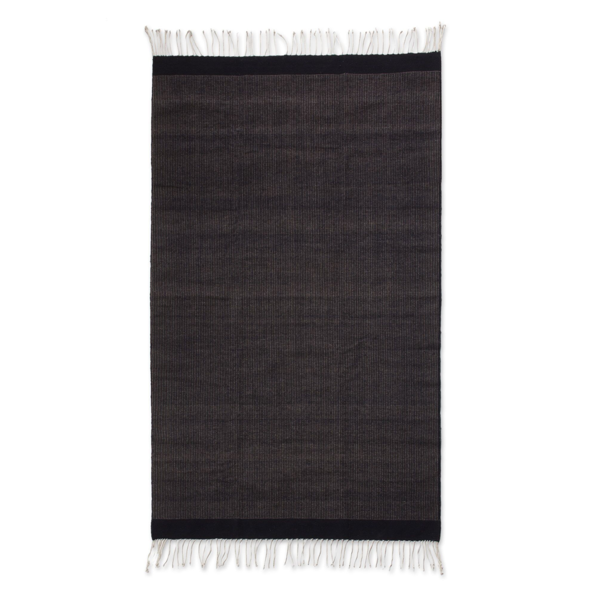 Weare Hand-Woven Black Area Rug